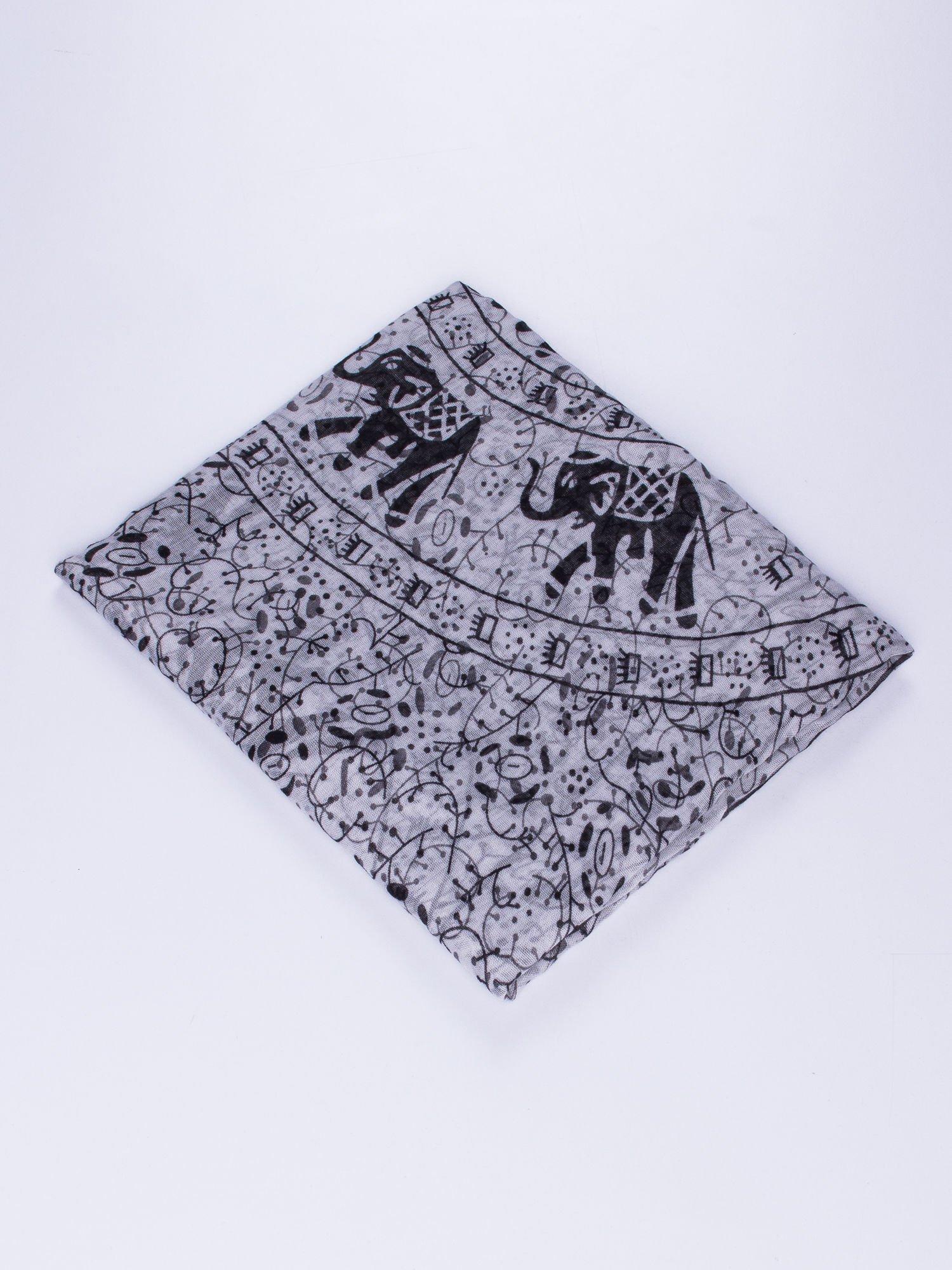 Szary orientalny szal we wzór ze słoni                                  zdj.                                  2