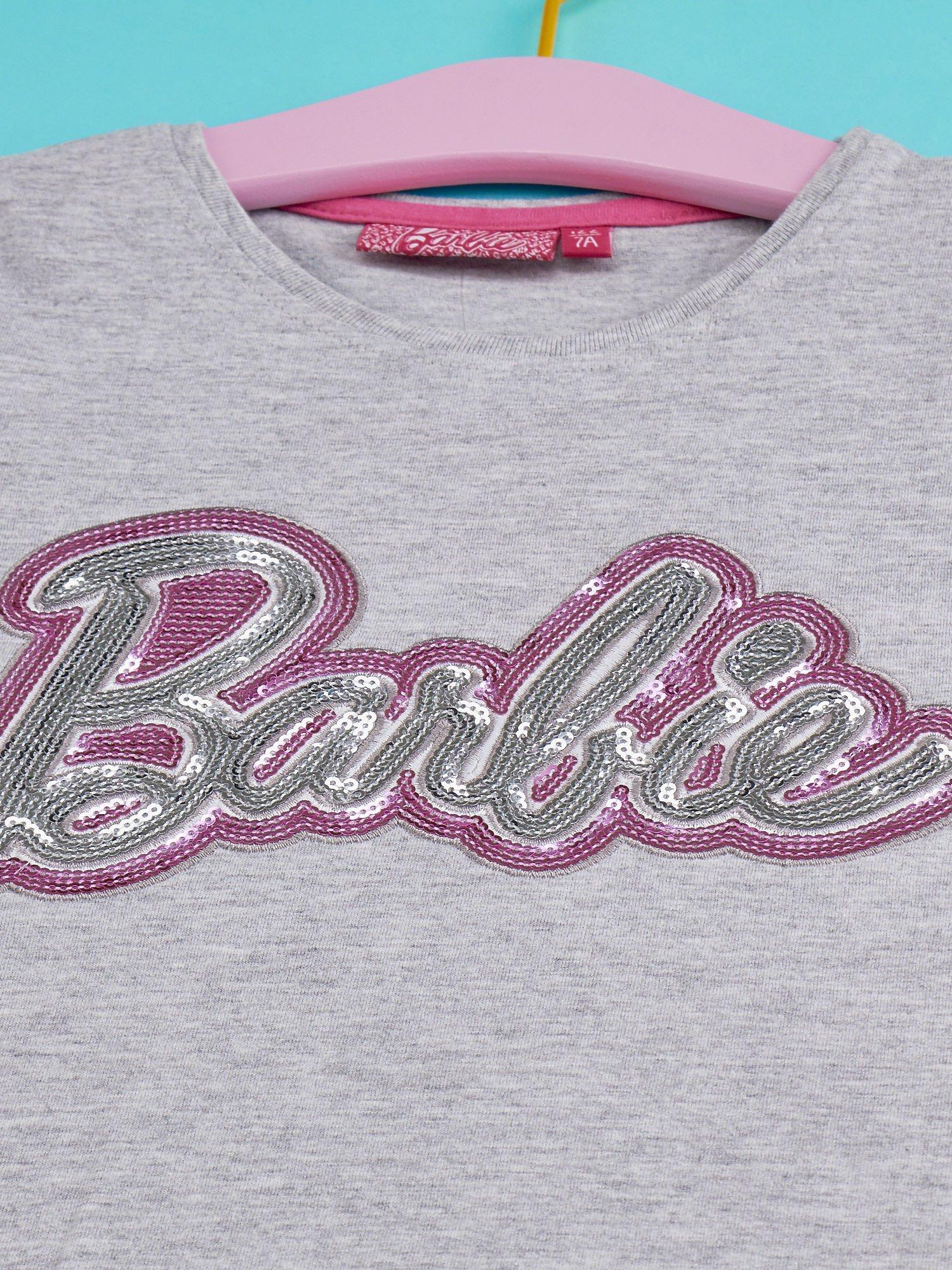 Szary t-shirt dla dziewczynki BARBIE                                  zdj.                                  4