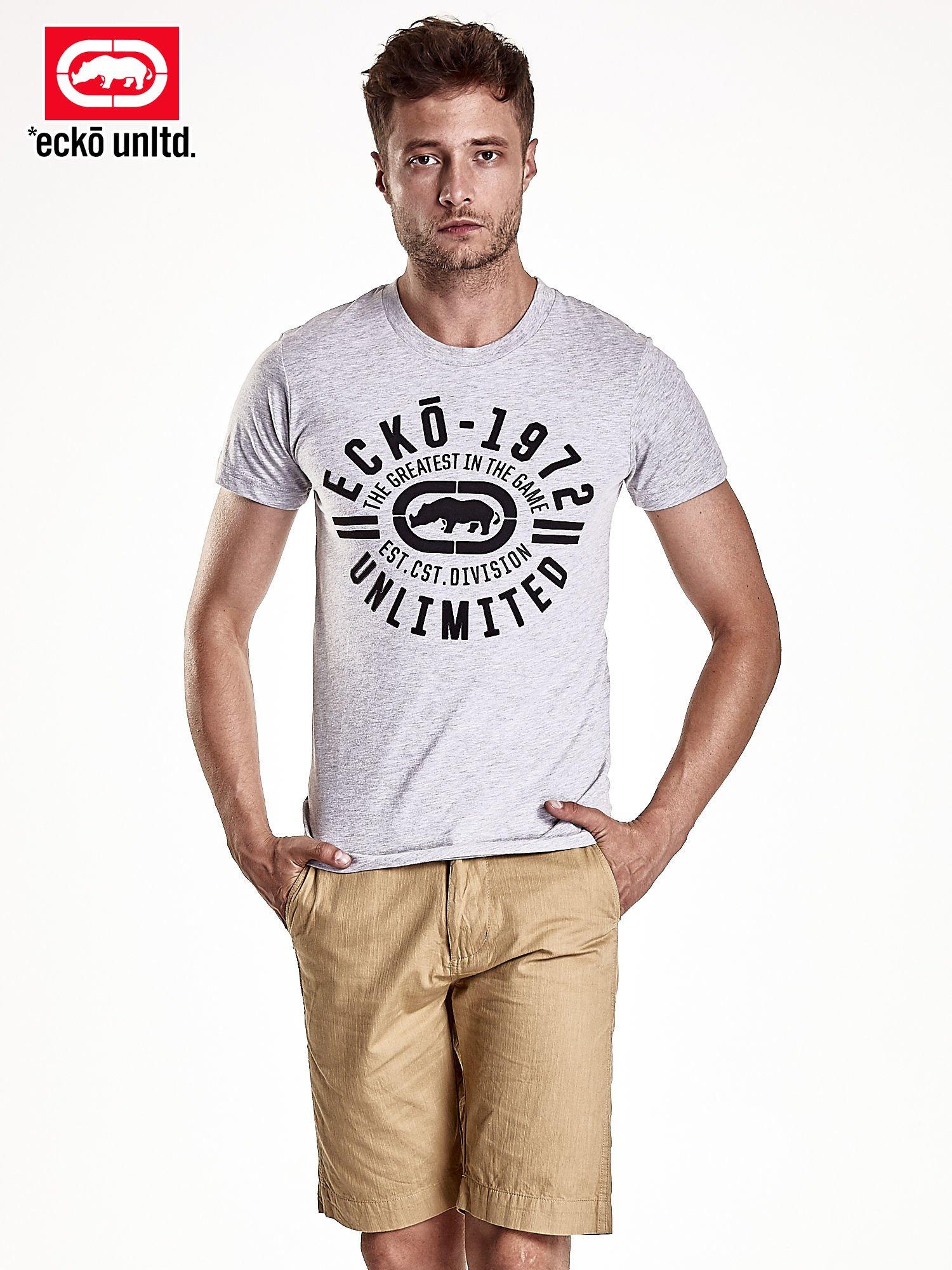 Szary t-shirt męski z czarnym logiem                                  zdj.                                  2