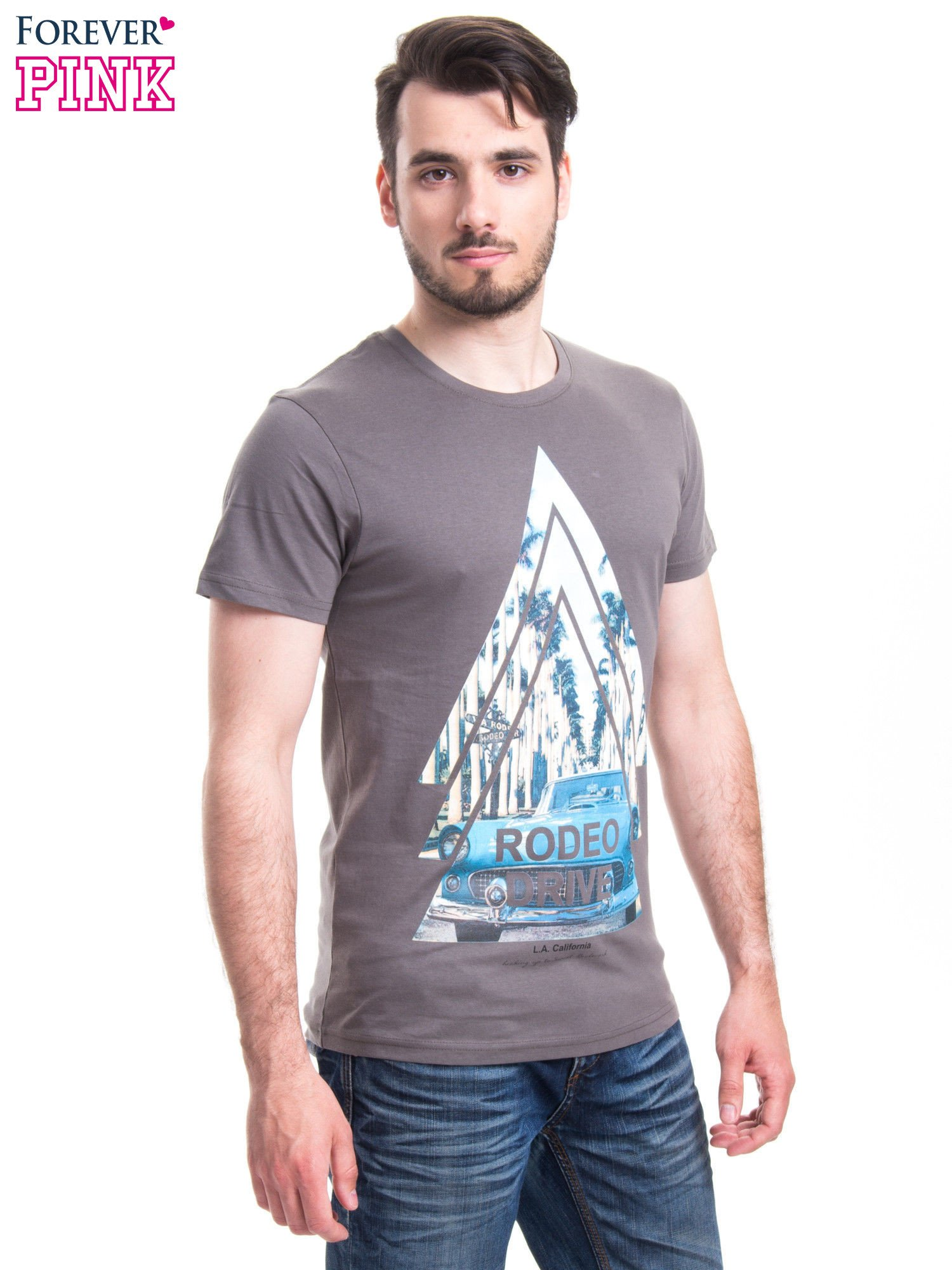 Szary t-shirt męski z nadrukiem RODEO DRIVE                                  zdj.                                  2