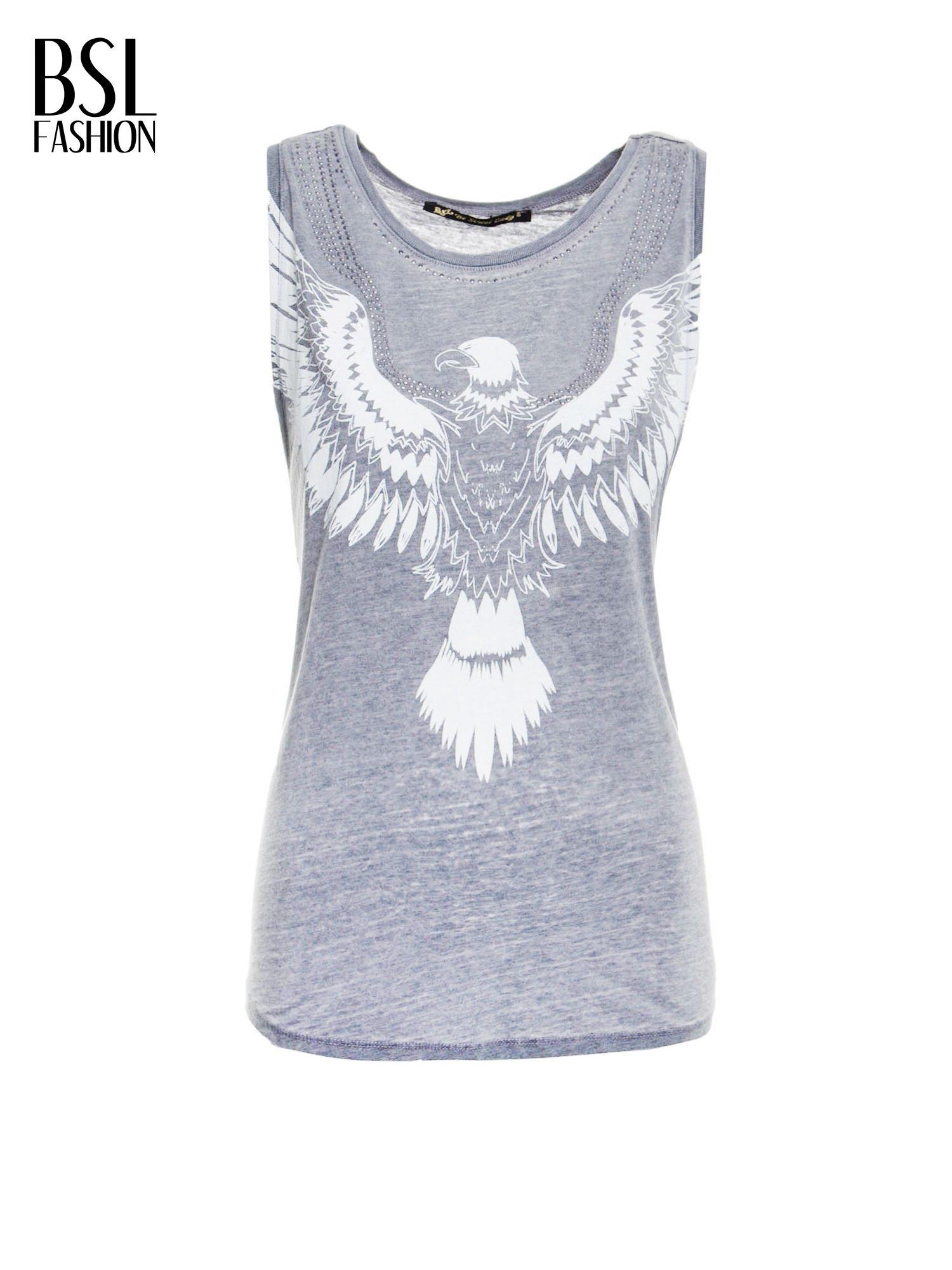Szary t-shirt typu bokserka z nadrukiem orła i dżetami                                  zdj.                                  2
