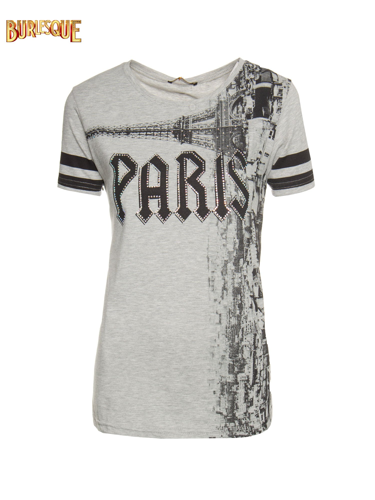 Szary t-shirt z motywem Paryża                                  zdj.                                  1