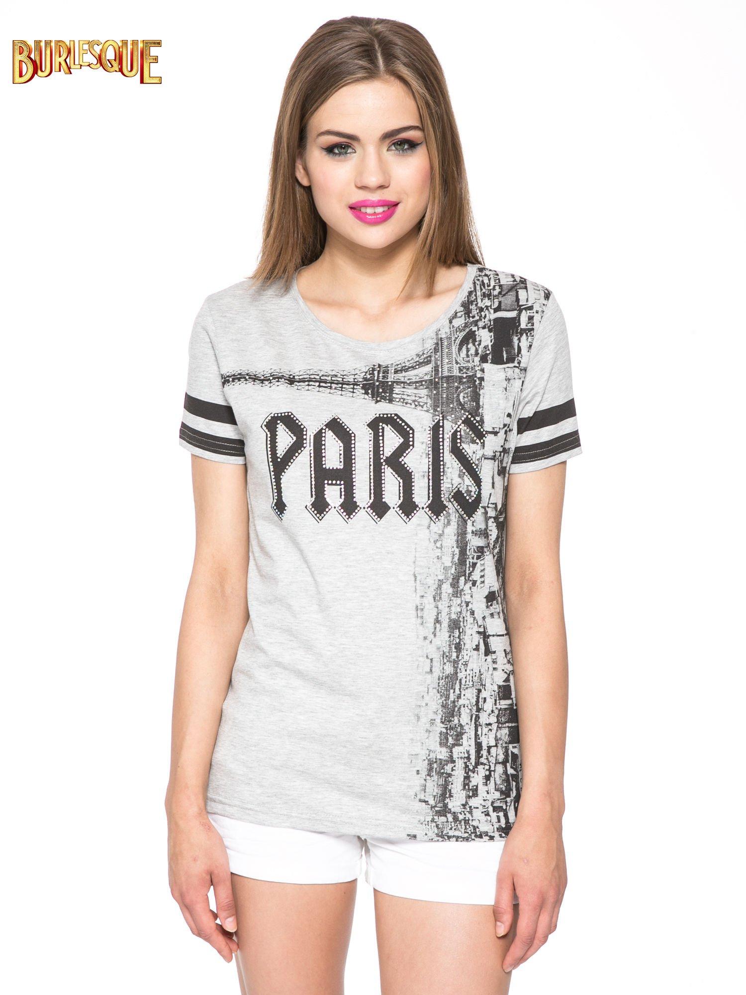 Szary t-shirt z motywem Paryża                                  zdj.                                  13