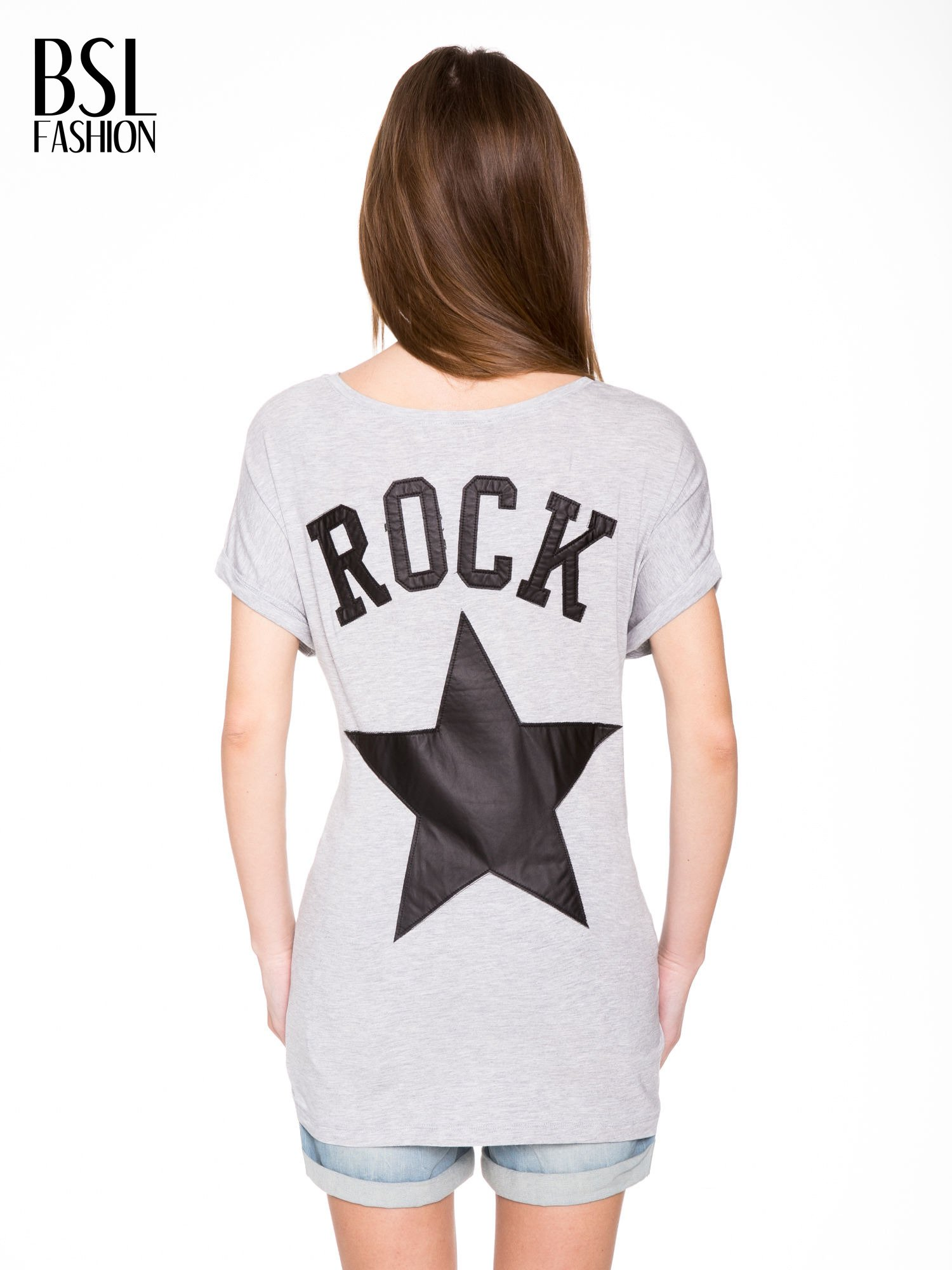Szary t-shirt z nadrukiem ROCK na plecach                                  zdj.                                  5