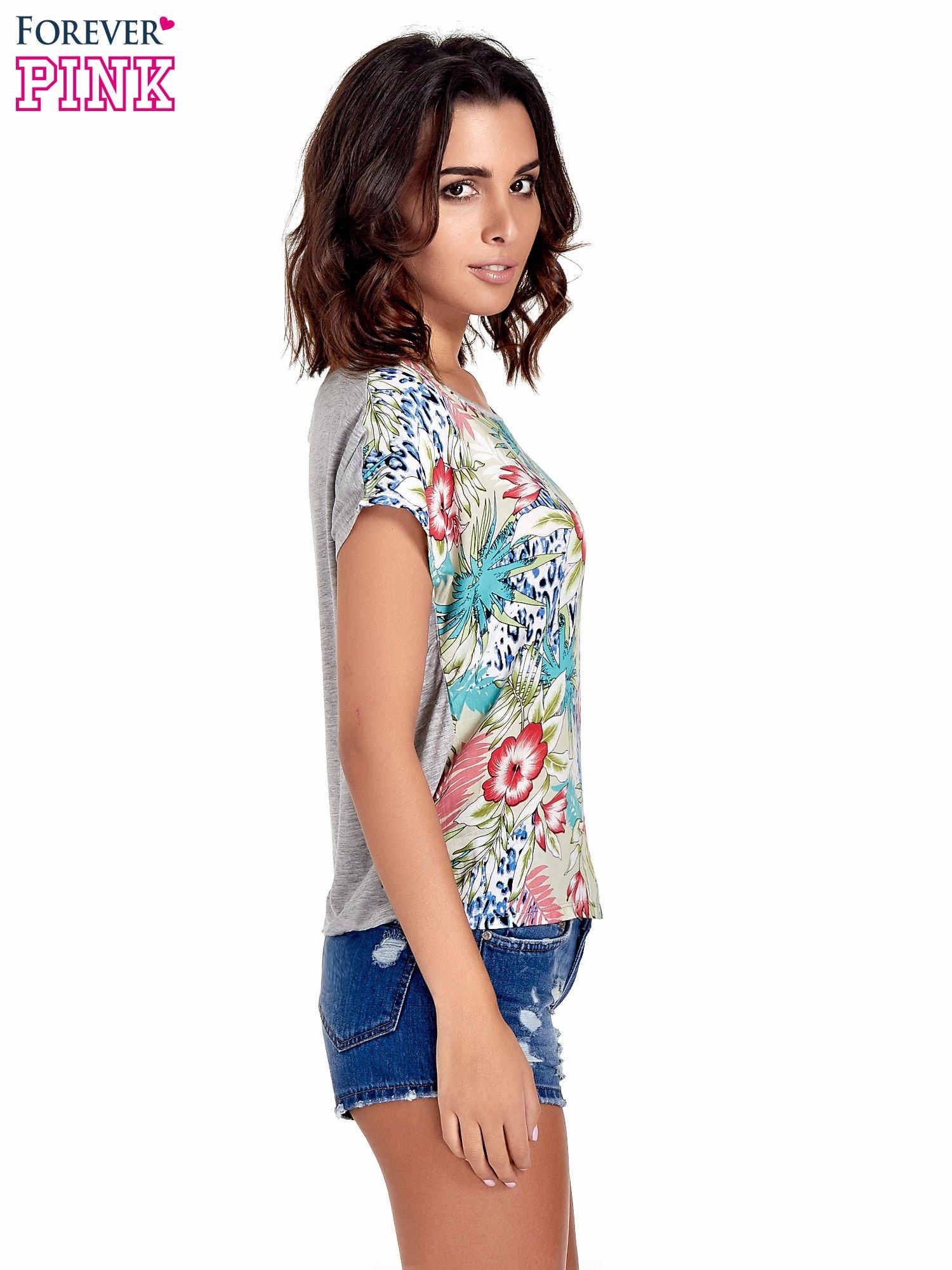 Szary t-shirt z nadrukiem floral print                                  zdj.                                  3