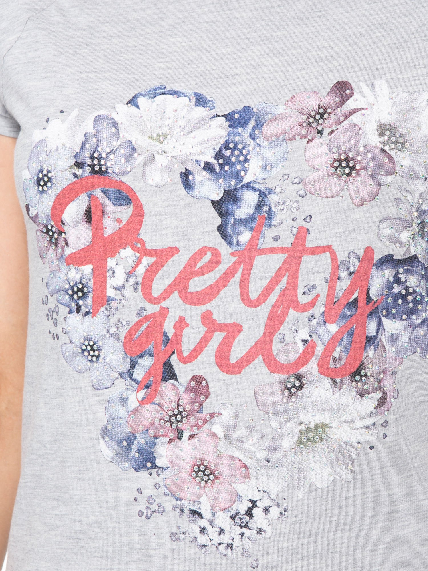 Szary t-shirt z nadrukiem kwiatowym PRETTY GIRL                                  zdj.                                  7