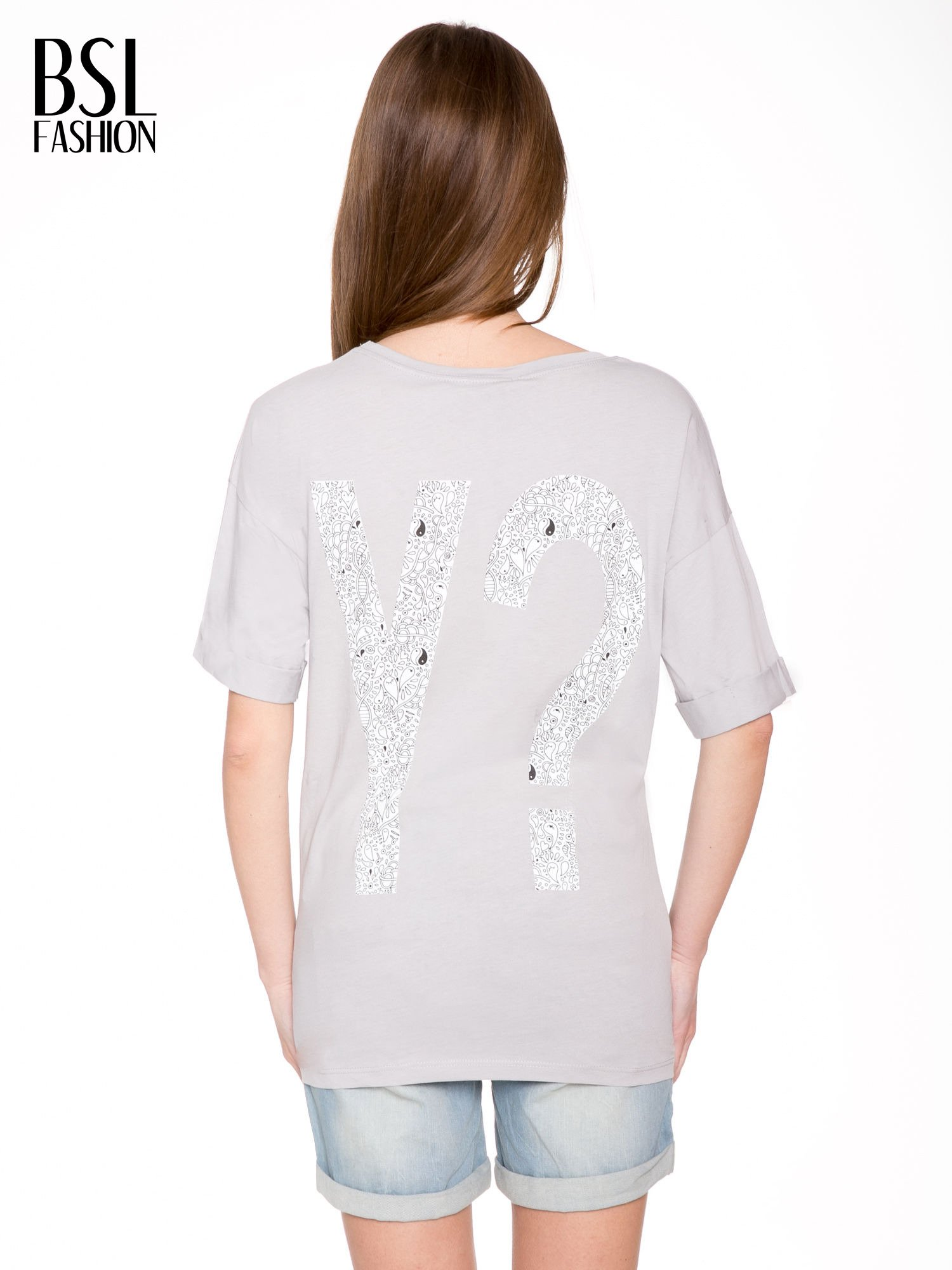 Szary t-shirt z nadukiem WHY? z przodu i na plecach                                  zdj.                                  4