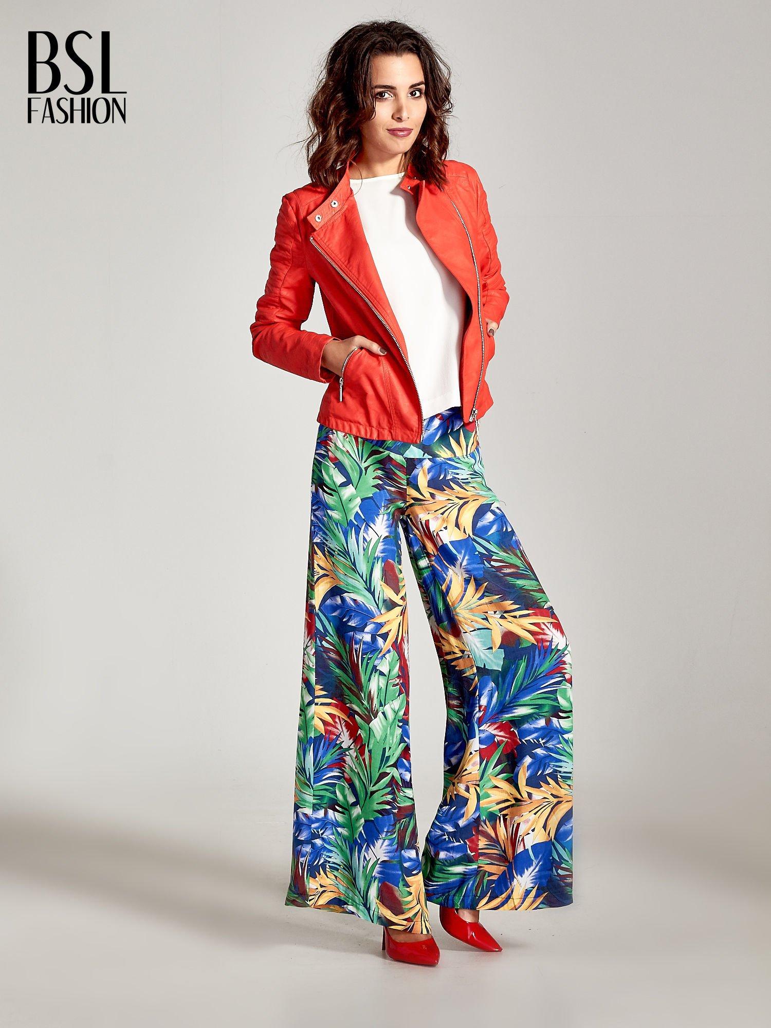 Szerokie spodnie culottes z egzotycznym nadrukiem                                  zdj.                                  8