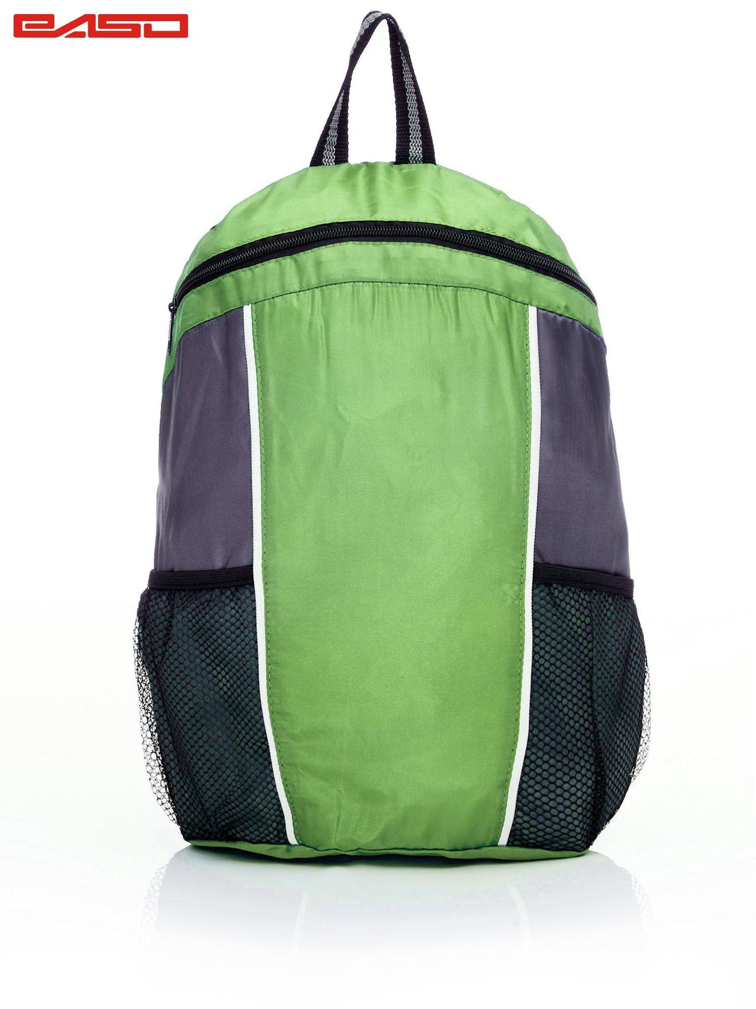61709a7206893 Szkolny plecak z siatkowymi kieszeniami zielony