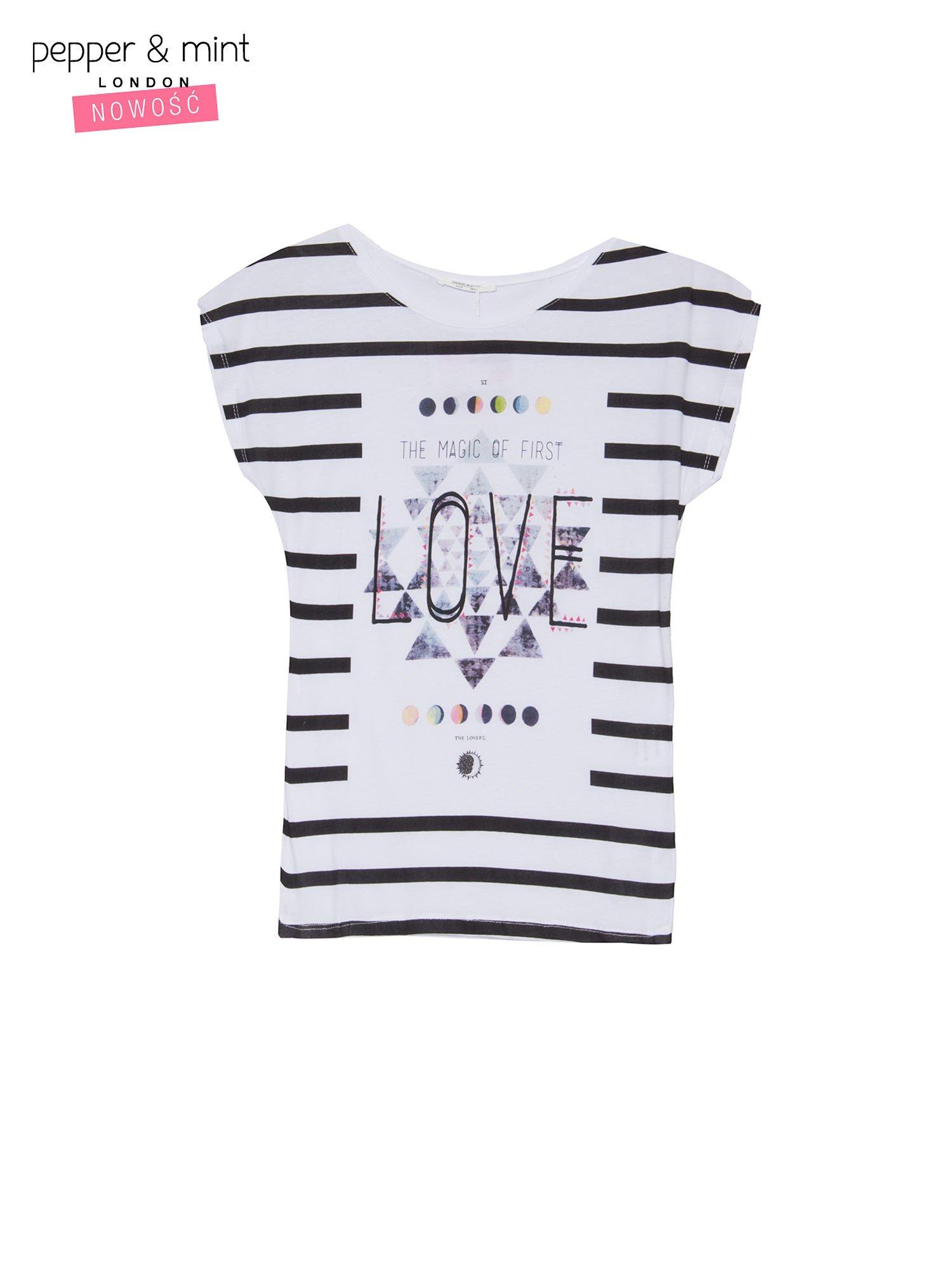 T-shirt w biało-czarne paski z napisem LOVE                                  zdj.                                  2