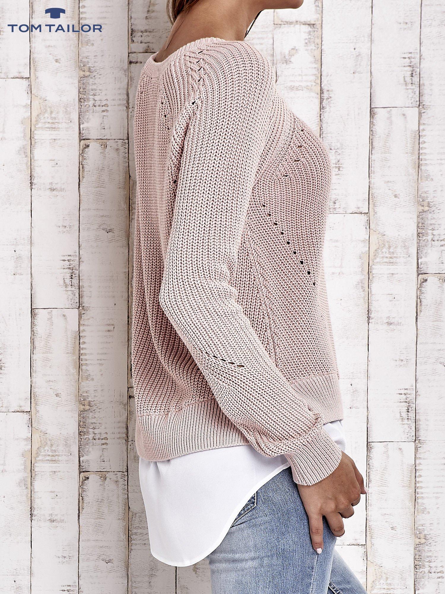 TOM TAILOR Brzoskwiniowy sweter z koszulą                                  zdj.                                  6