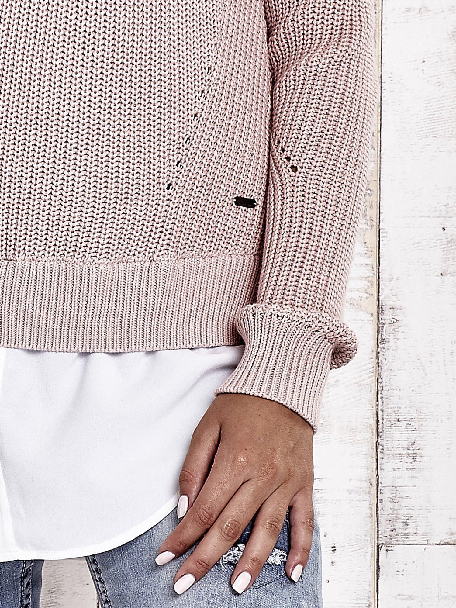TOM TAILOR Brzoskwiniowy sweter z koszulą                                  zdj.                                  8