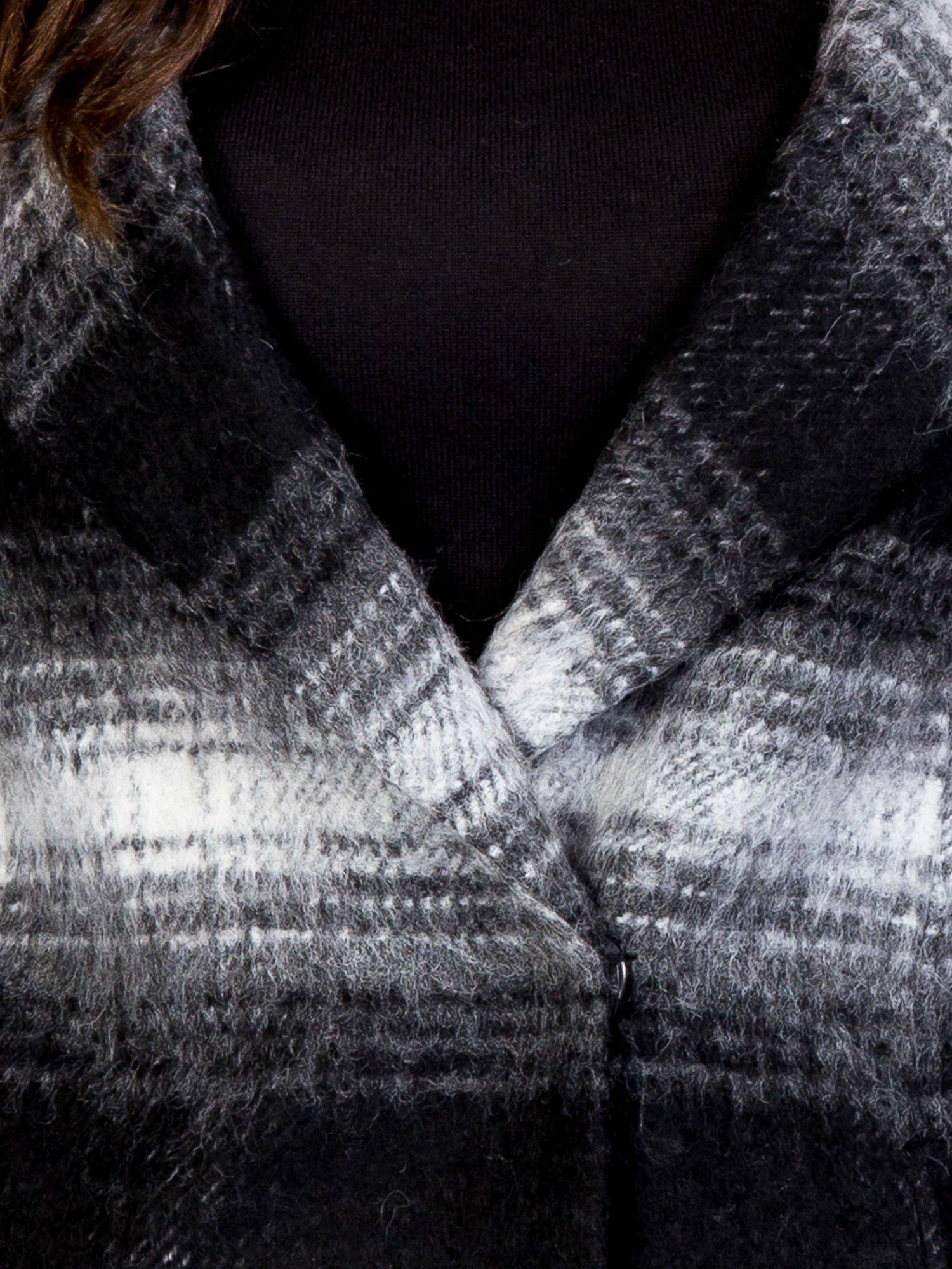 TOM TAILOR Czarny jednorzędowy płaszcz boyfriend w kratę                                  zdj.                                  8