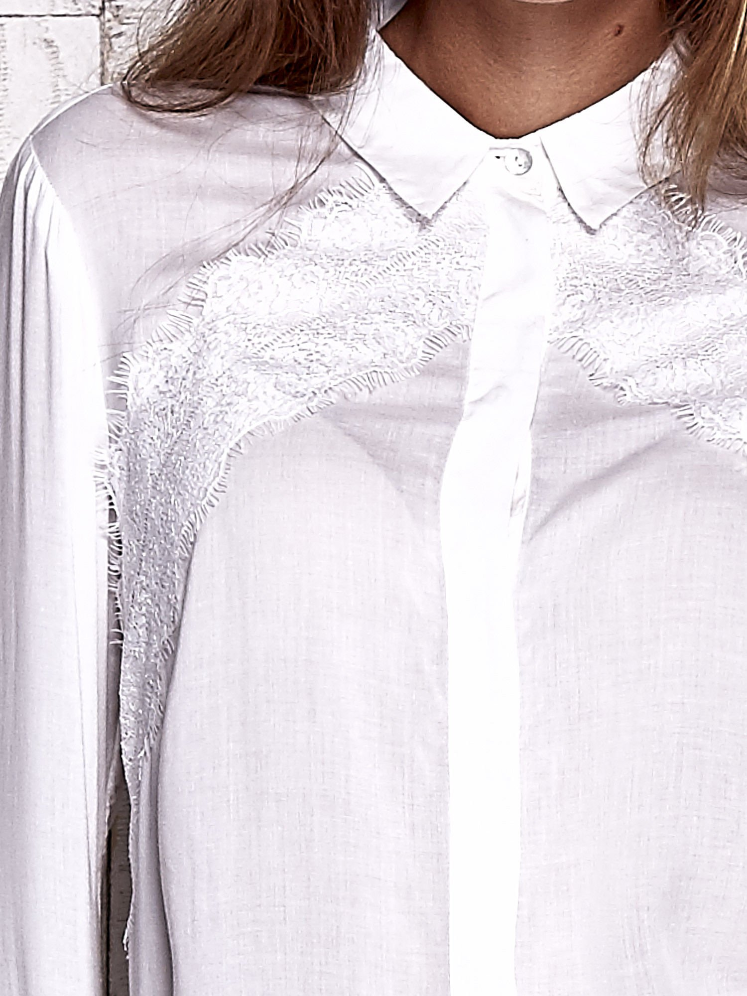 TOM TAILOR Ecru koszula z koronkową wstawką                                  zdj.                                  6