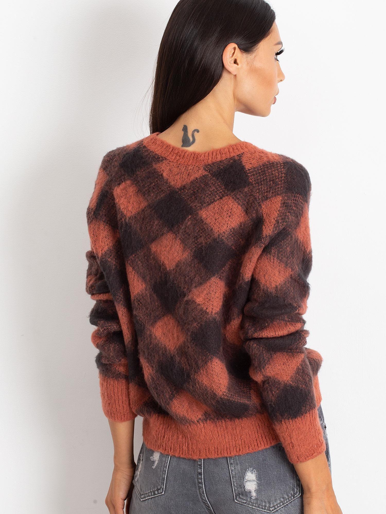 TOM TAILOR Koralowy puszysty sweter w kratkę                                  zdj.                                  3
