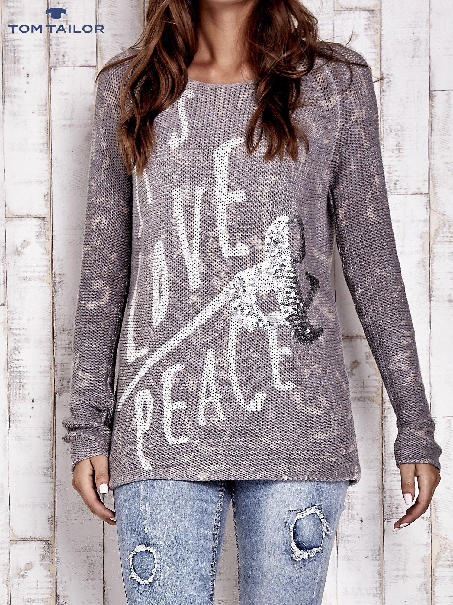 TOM TAILOR Szary sweter z literowym nadrukiem i cekinami                                  zdj.                                  1