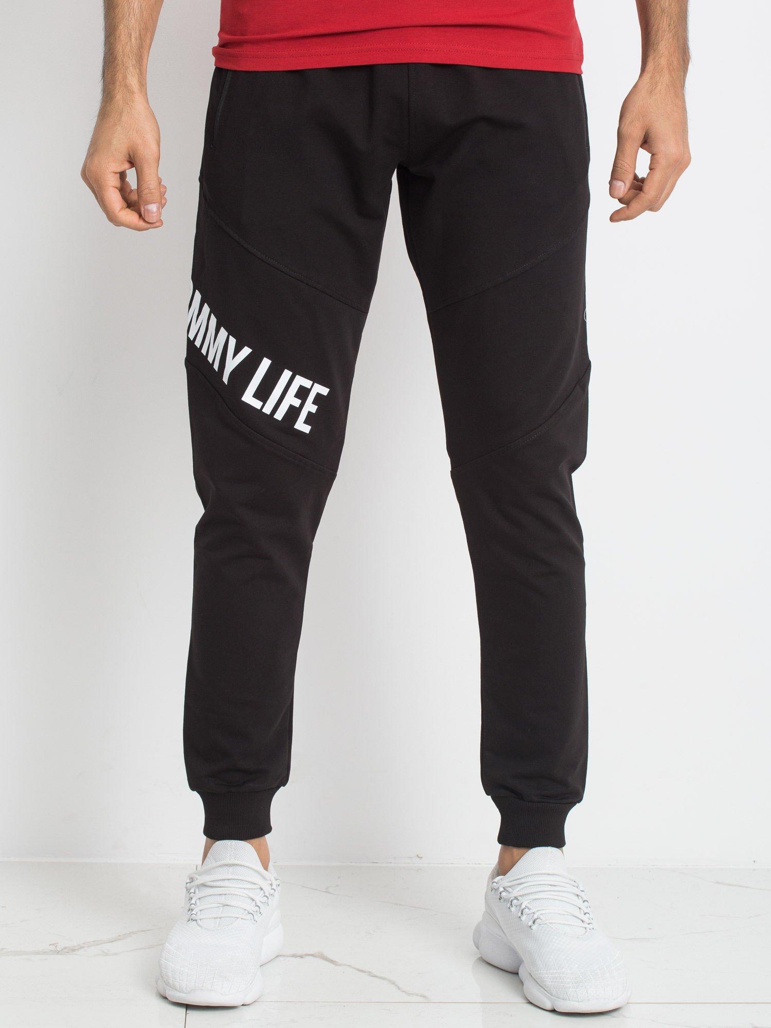 db4cd6076affa3 TOMMY LIFE Czarne męskie spodnie dresowe - Mężczyźni Spodnie dresowe ...