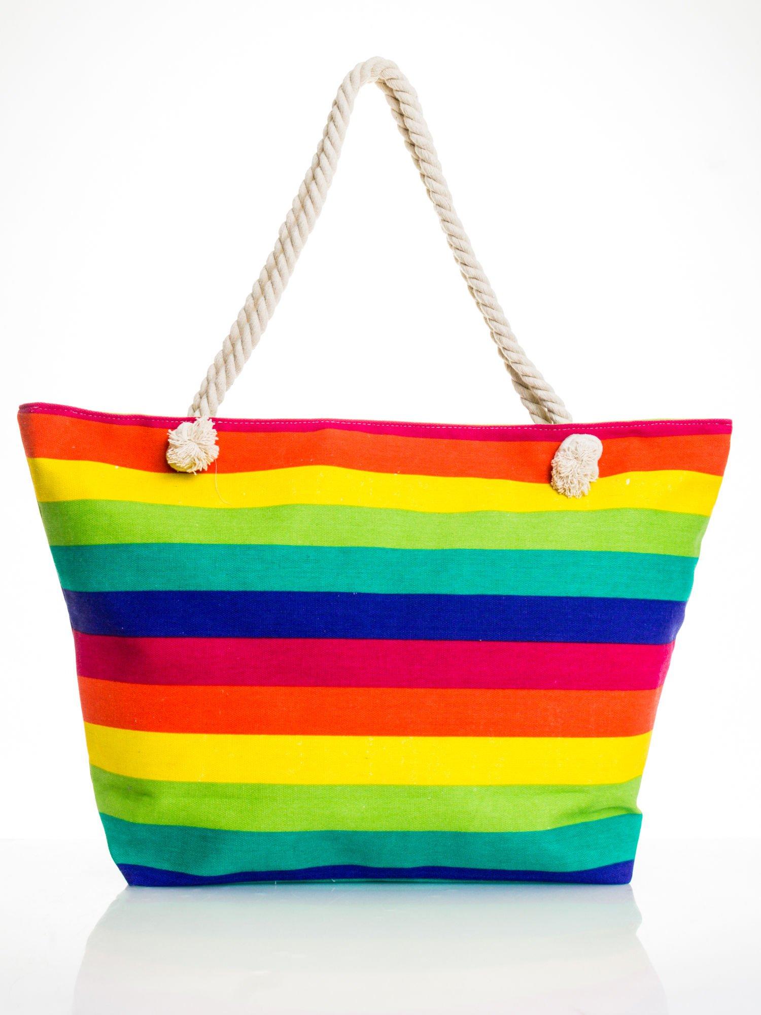 Tęczowa torba plażowa w pasy                                  zdj.                                  5