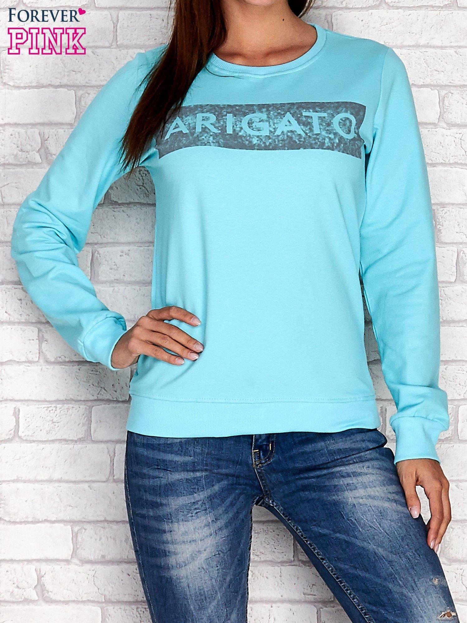 Turkusowa bluza z napisem ARIGATO                                  zdj.                                  1