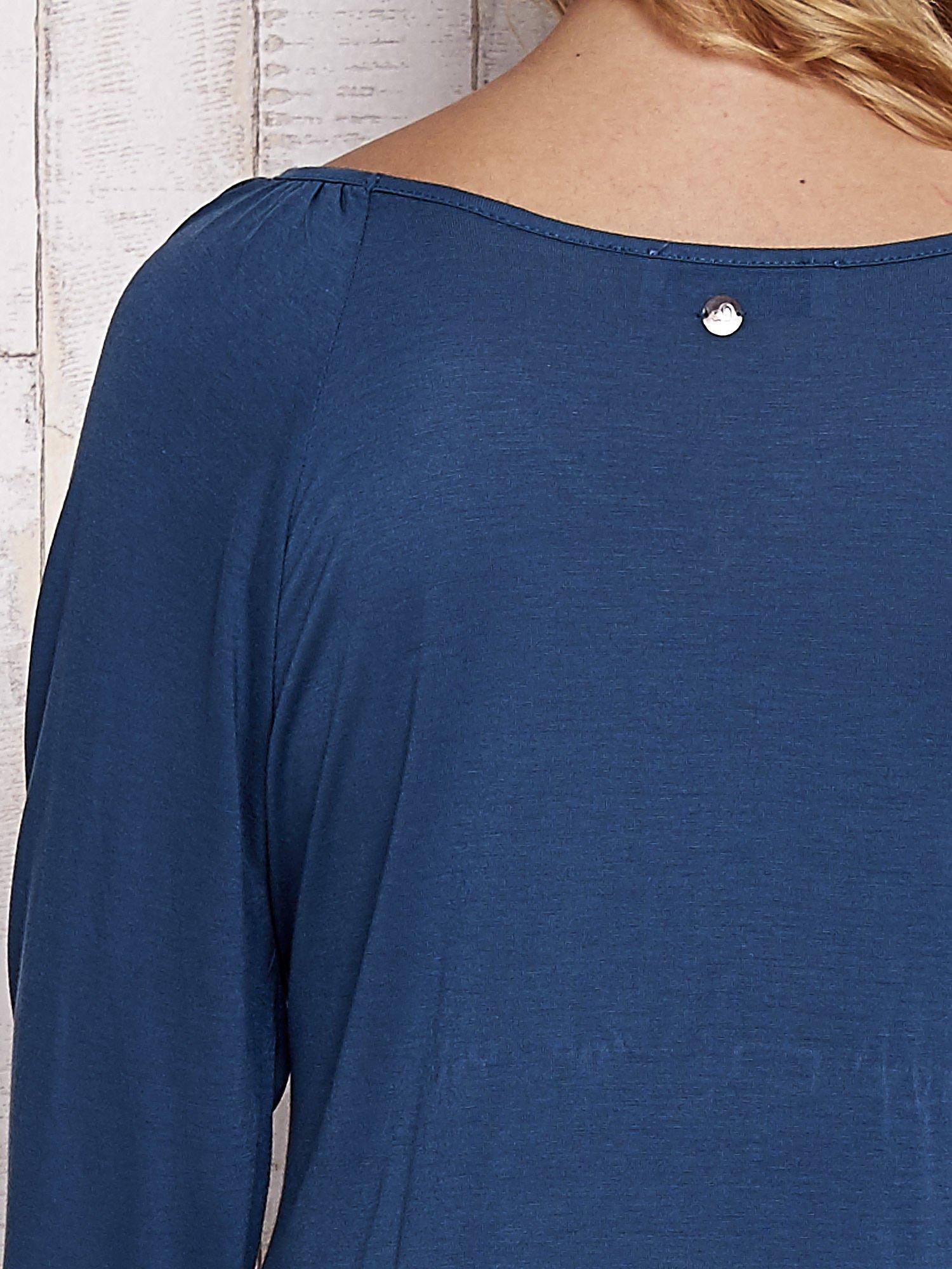 Turkusowa bluzka ze ściągaczem na dole                                  zdj.                                  6