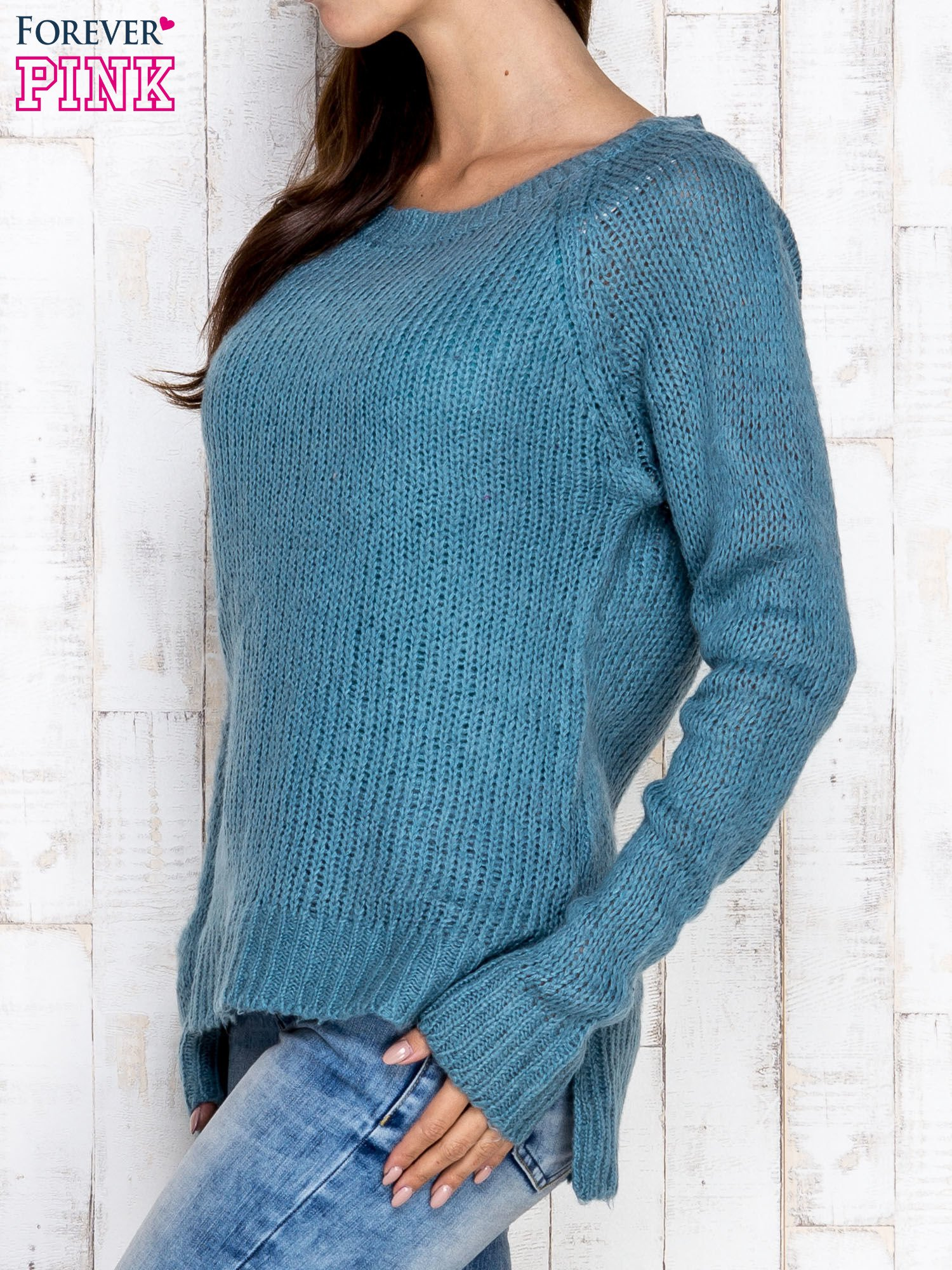 Turkusowy dzianinowy sweter o szerokim splocie                                  zdj.                                  3