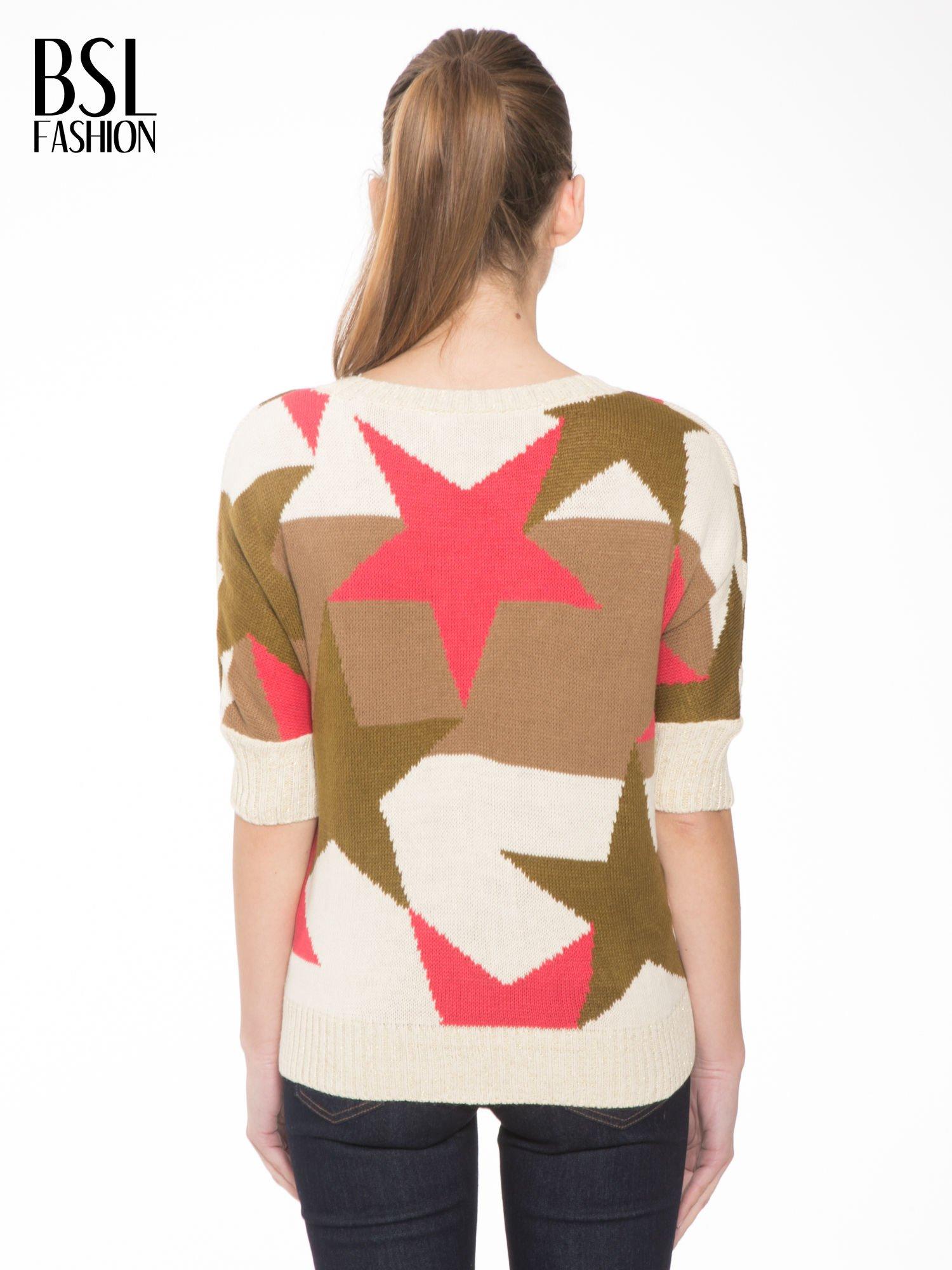 Wielokolorowy sweter z nadrukiem gwiazd                                  zdj.                                  4