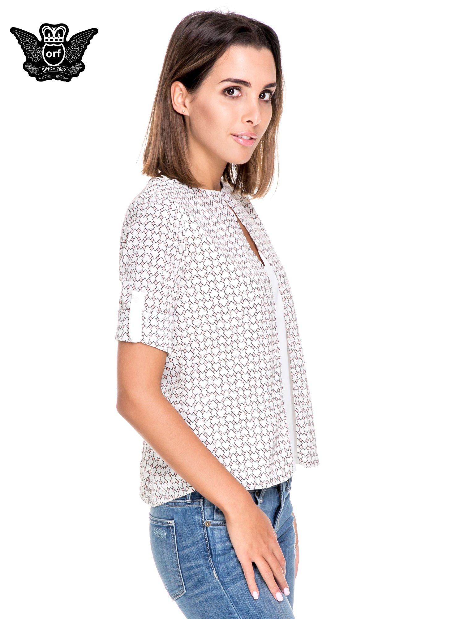 Wzorzysta różowa koszula o kroju narzutki                                  zdj.                                  5