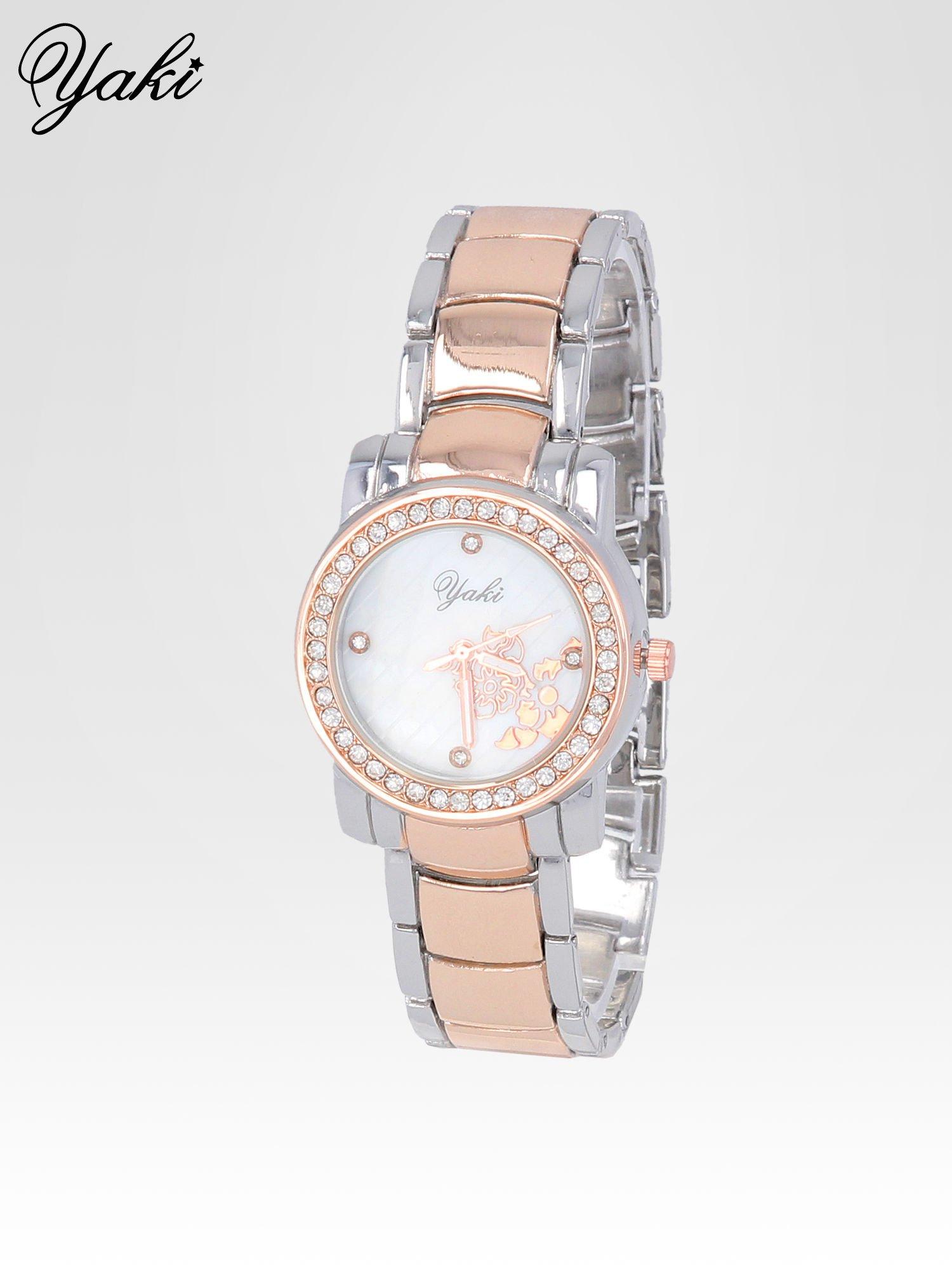 Zegarek damski z grawerem kwiatów z różowego złota                                  zdj.                                  2