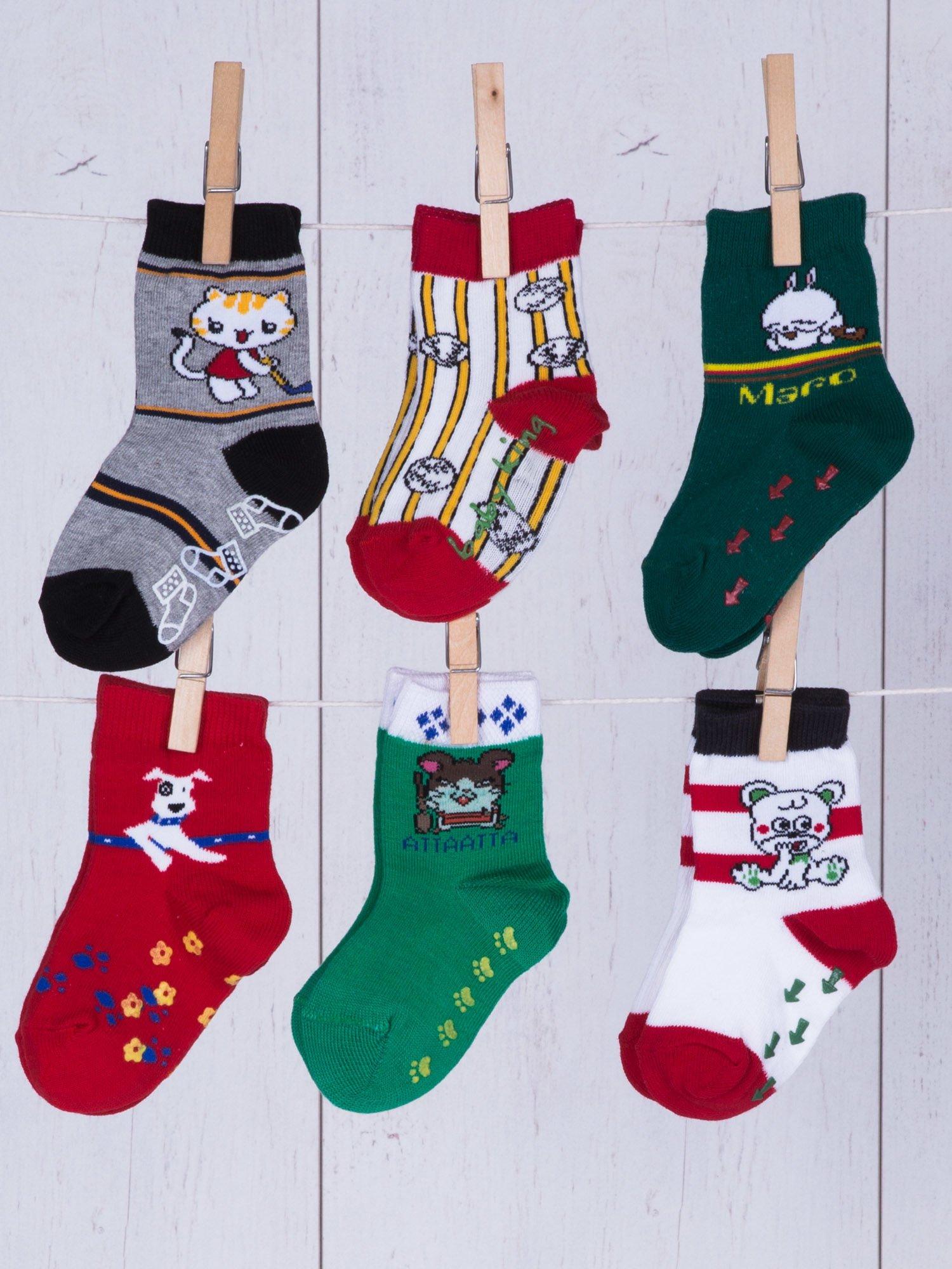 486886908c2018 Zestaw kolorowe bawełniane skarpetki niemowlęce z ABS 6-pak ...