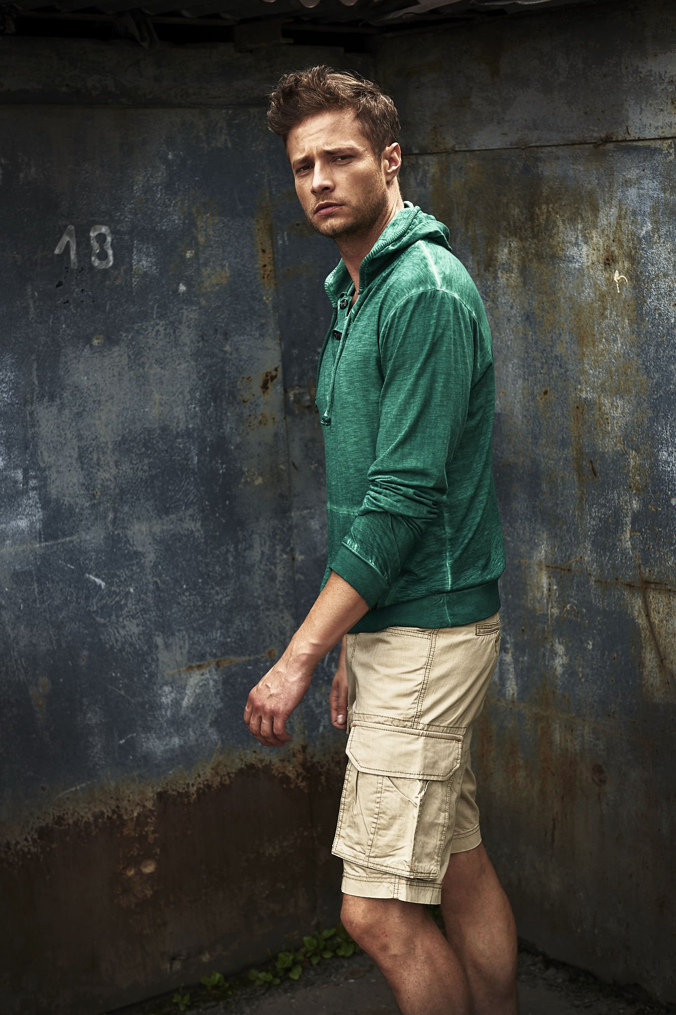 Zielona bluza męska z efektem acid wash Funk n Soul                                  zdj.                                  8