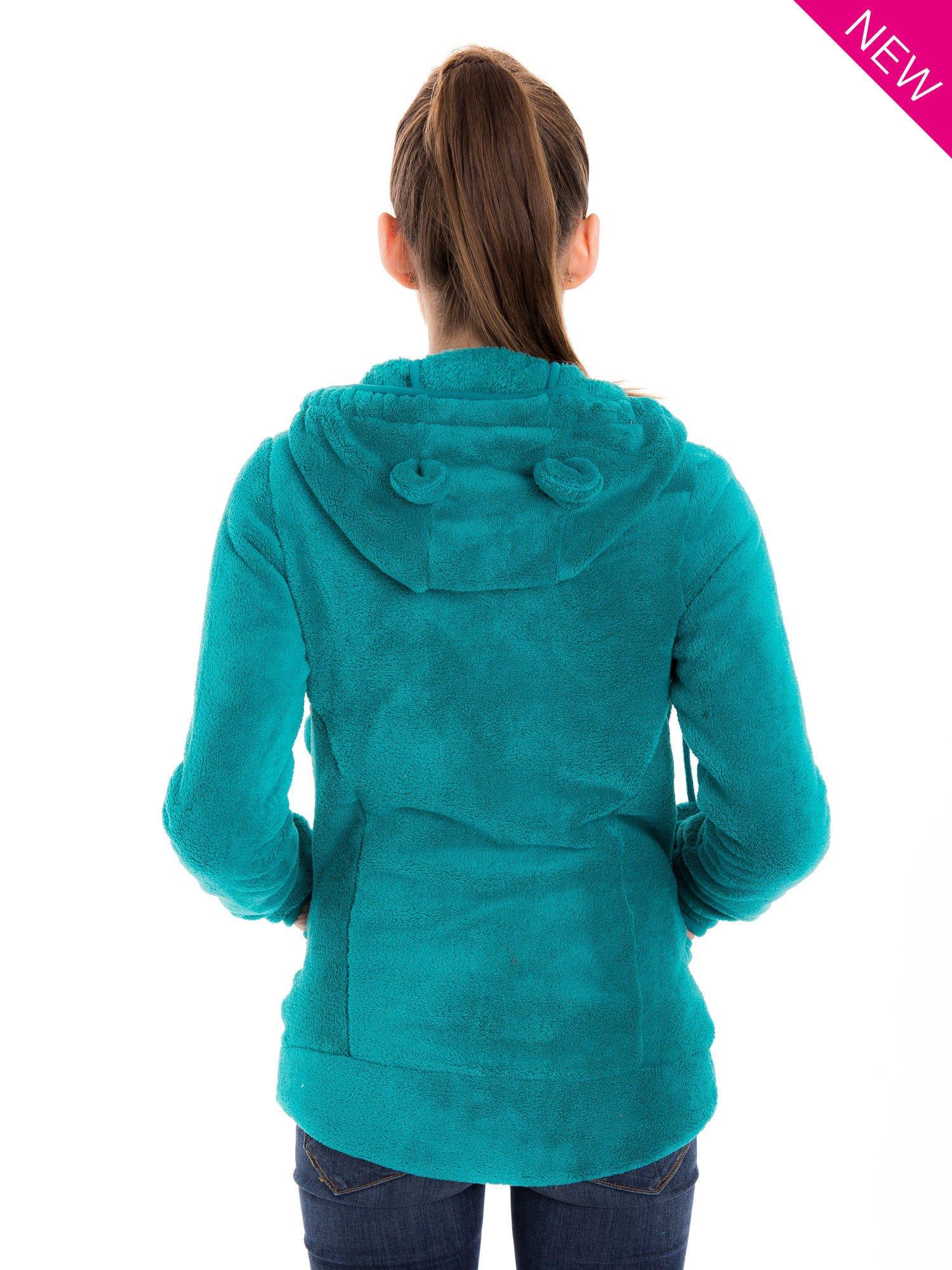 Zielona bluza miś z kapturem z uszkami i pomponami                                  zdj.                                  3