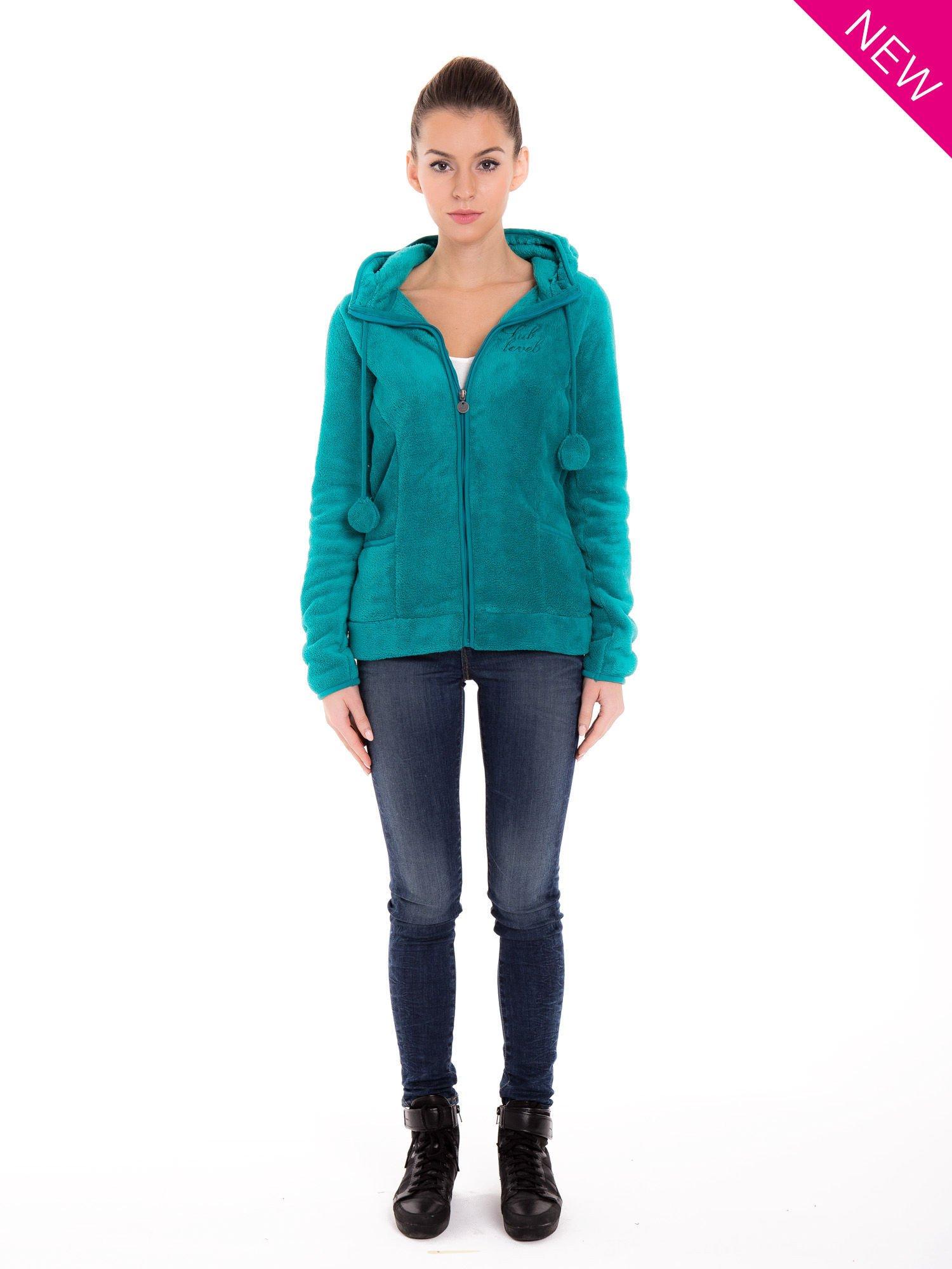 Zielona bluza miś z kapturem z uszkami i pomponami                                  zdj.                                  4