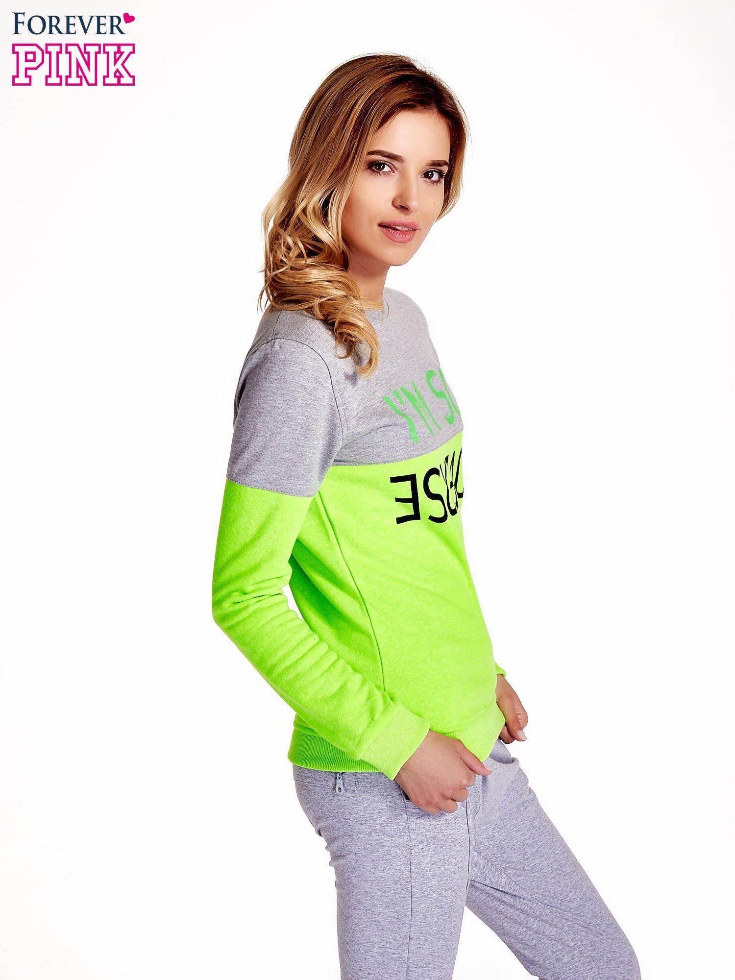 Zielona bluza z napisem I'M SO ADVERSE                                  zdj.                                  3