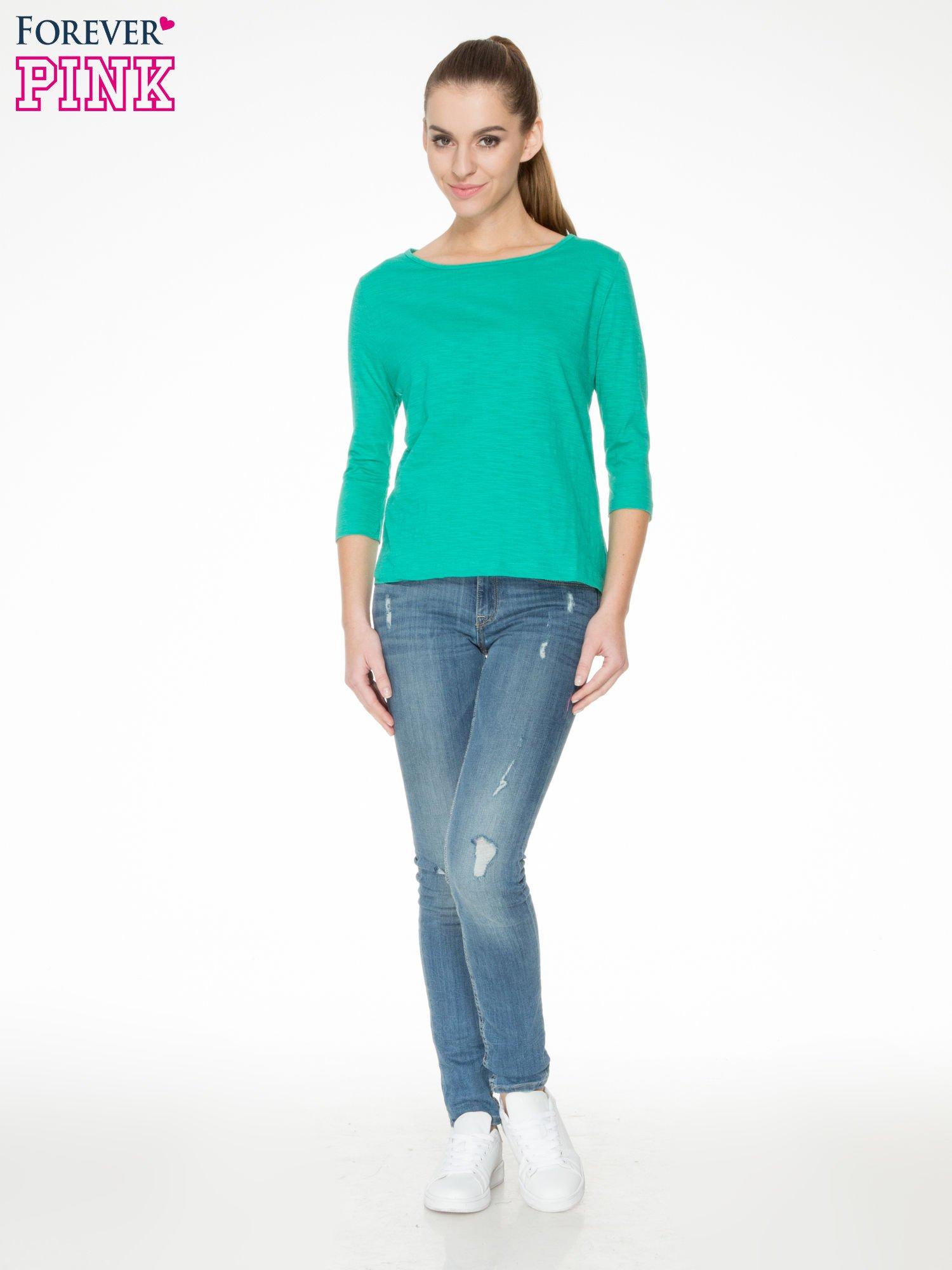 Zielona gładka bluzka z łezką z tyłu                                  zdj.                                  2