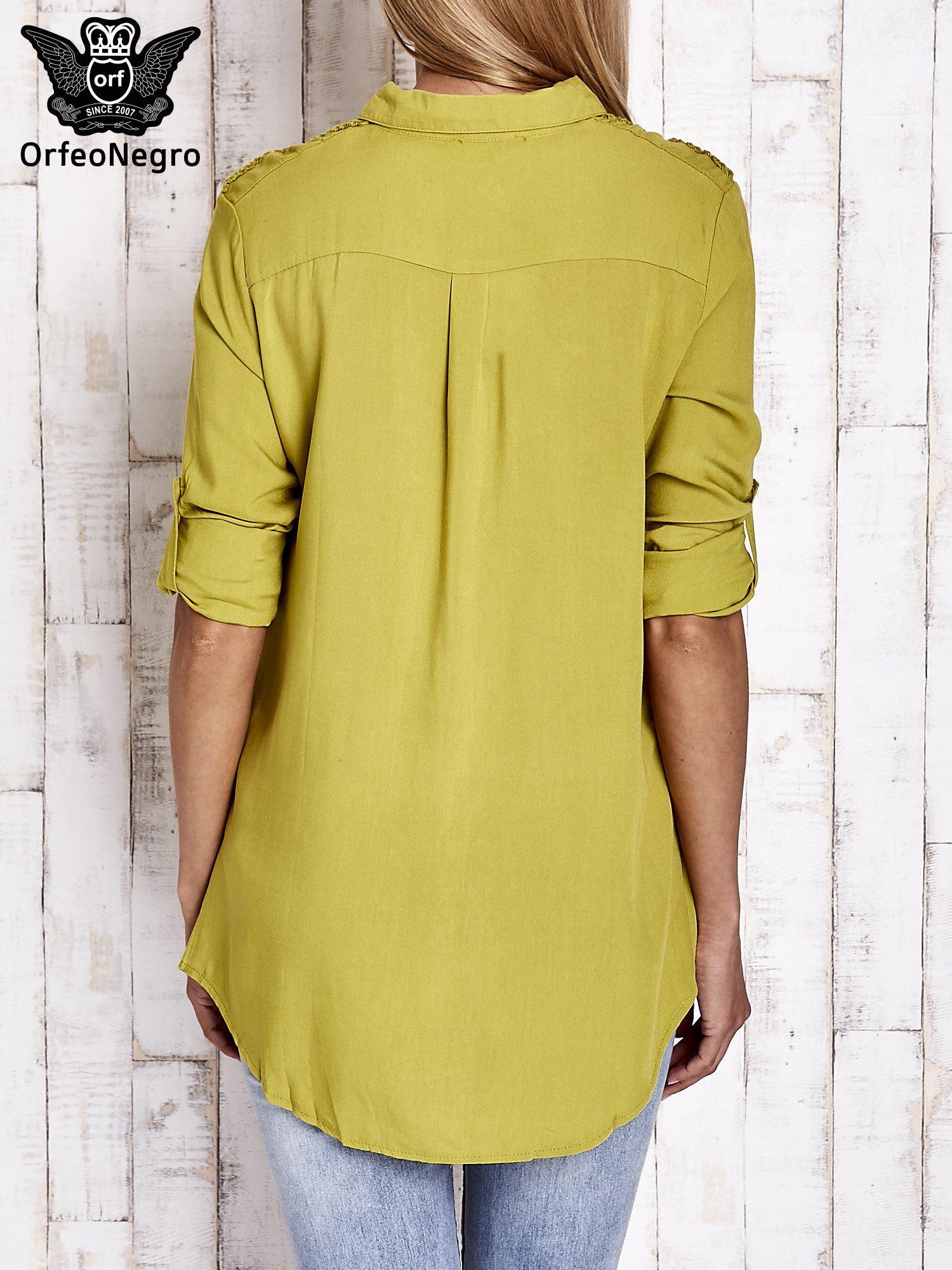Zielona koszula z aplikacją gwiazd na ramionach                                  zdj.                                  5