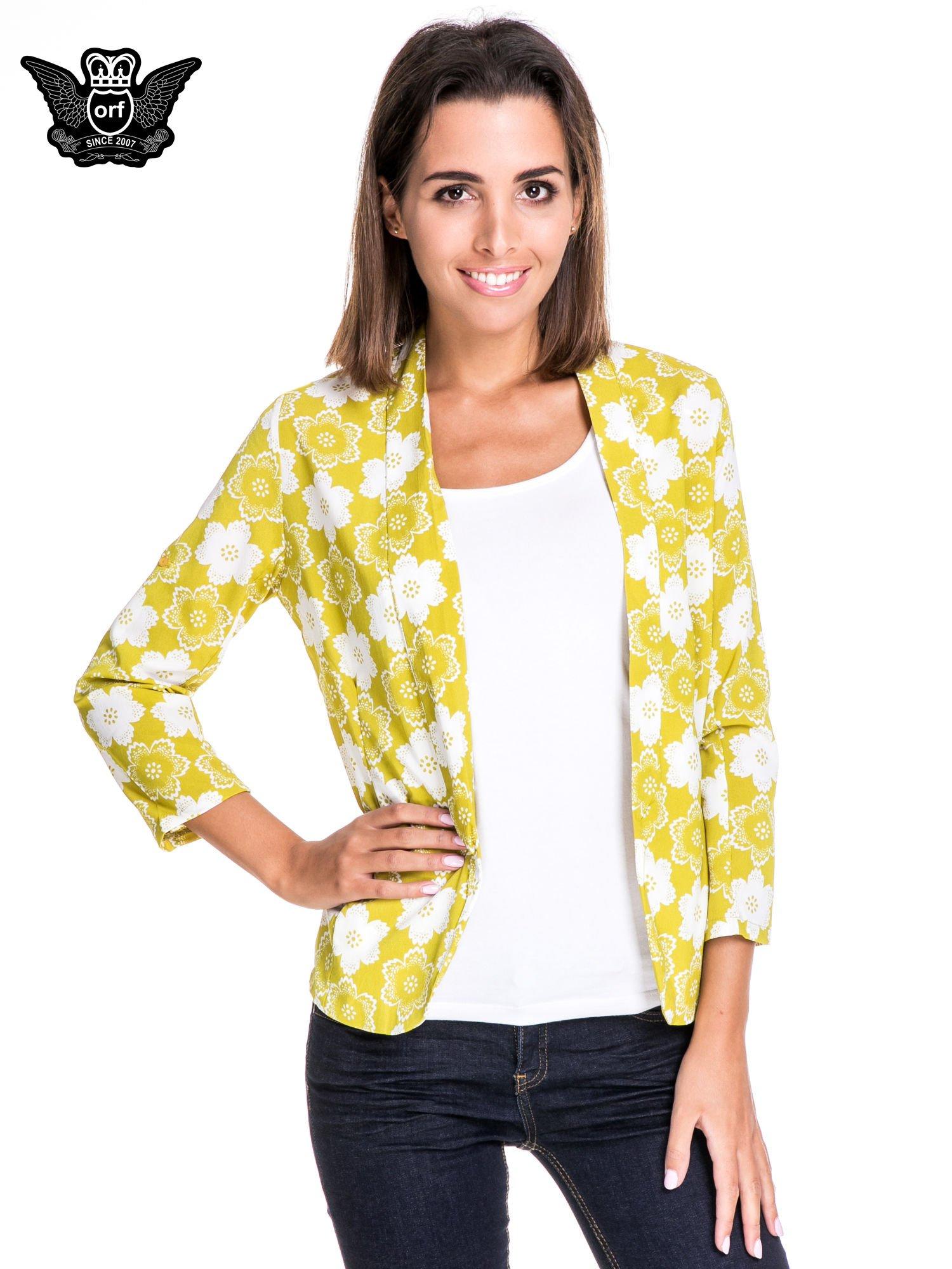 Zielona koszulonarzutka we wzór w kwiaty                                  zdj.                                  1