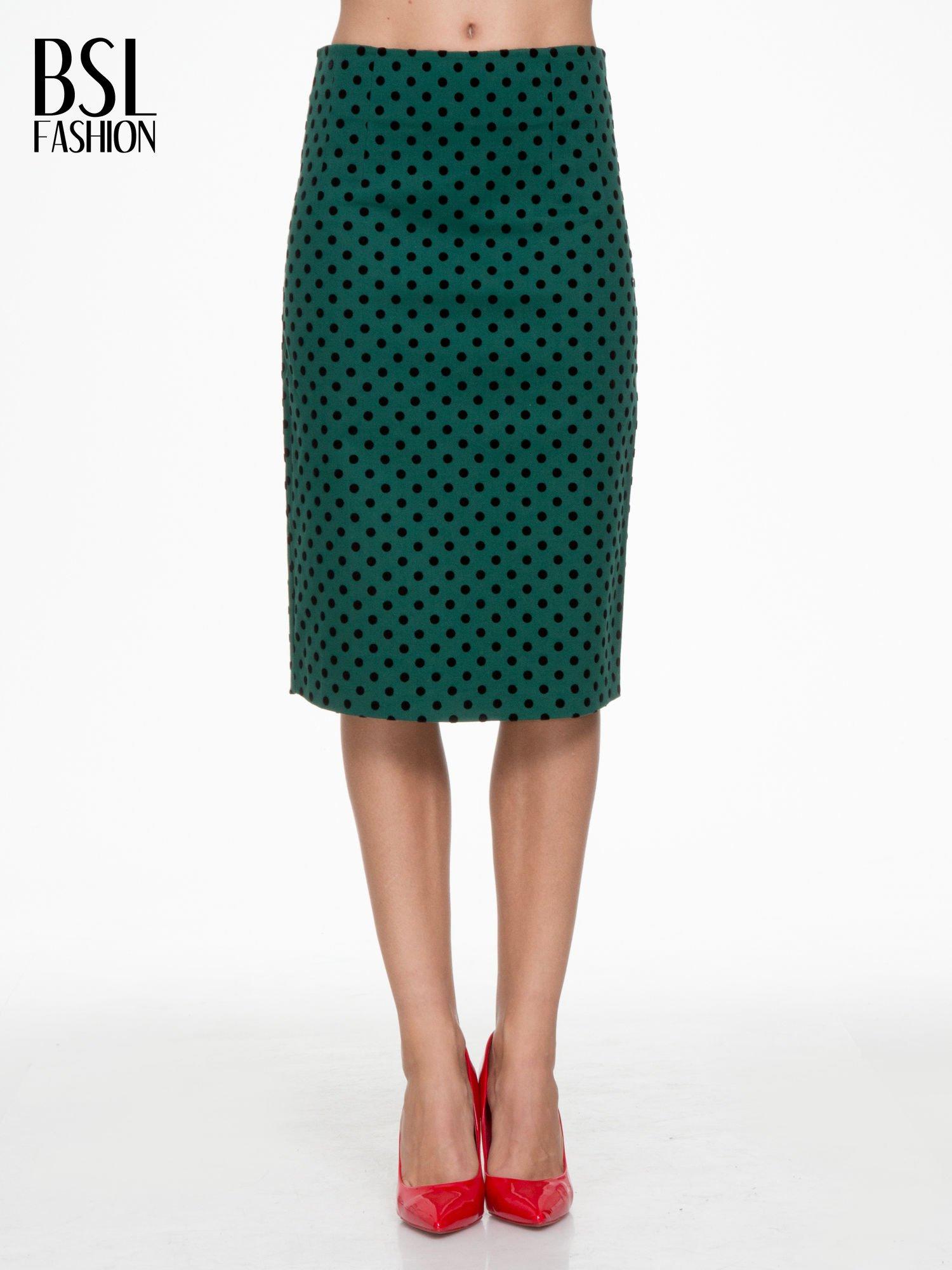 Zielona ołówkowa spódnica w groszki                                  zdj.                                  1