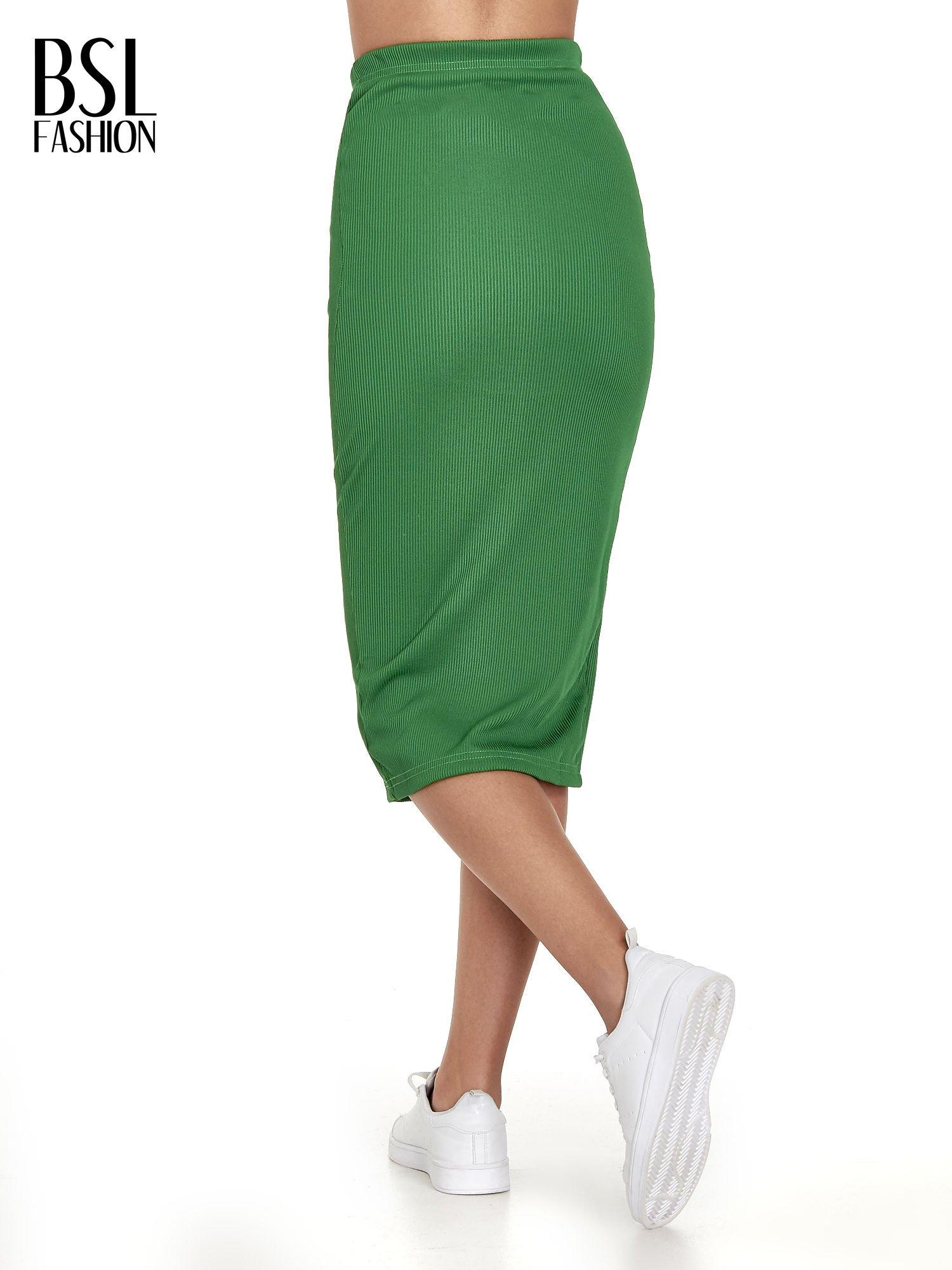 Zielona spódnica midi z suwakiem z przodu                                  zdj.                                  4