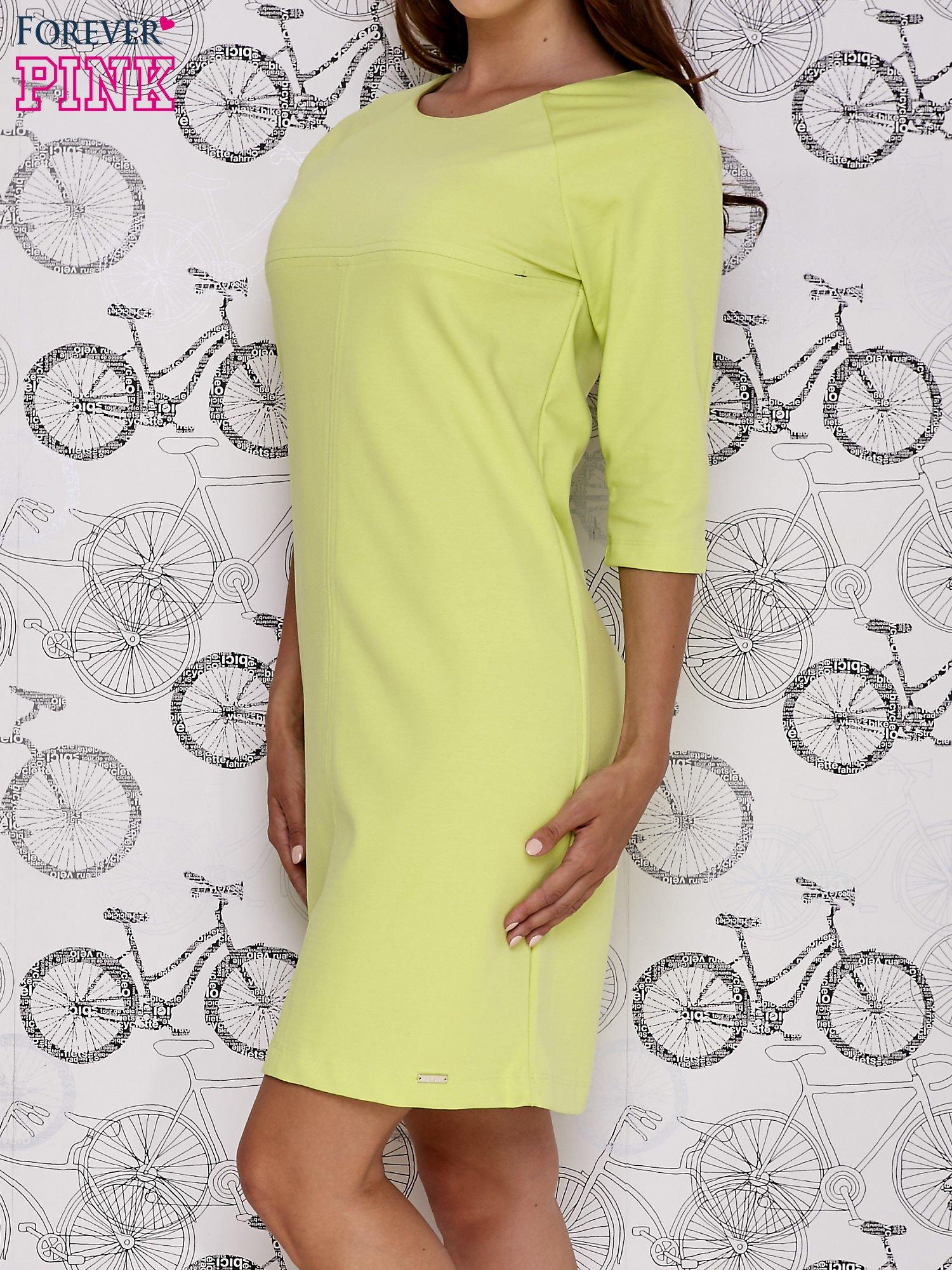 Zielona sukienka dresowa z suwakiem z tyłu                                  zdj.                                  3