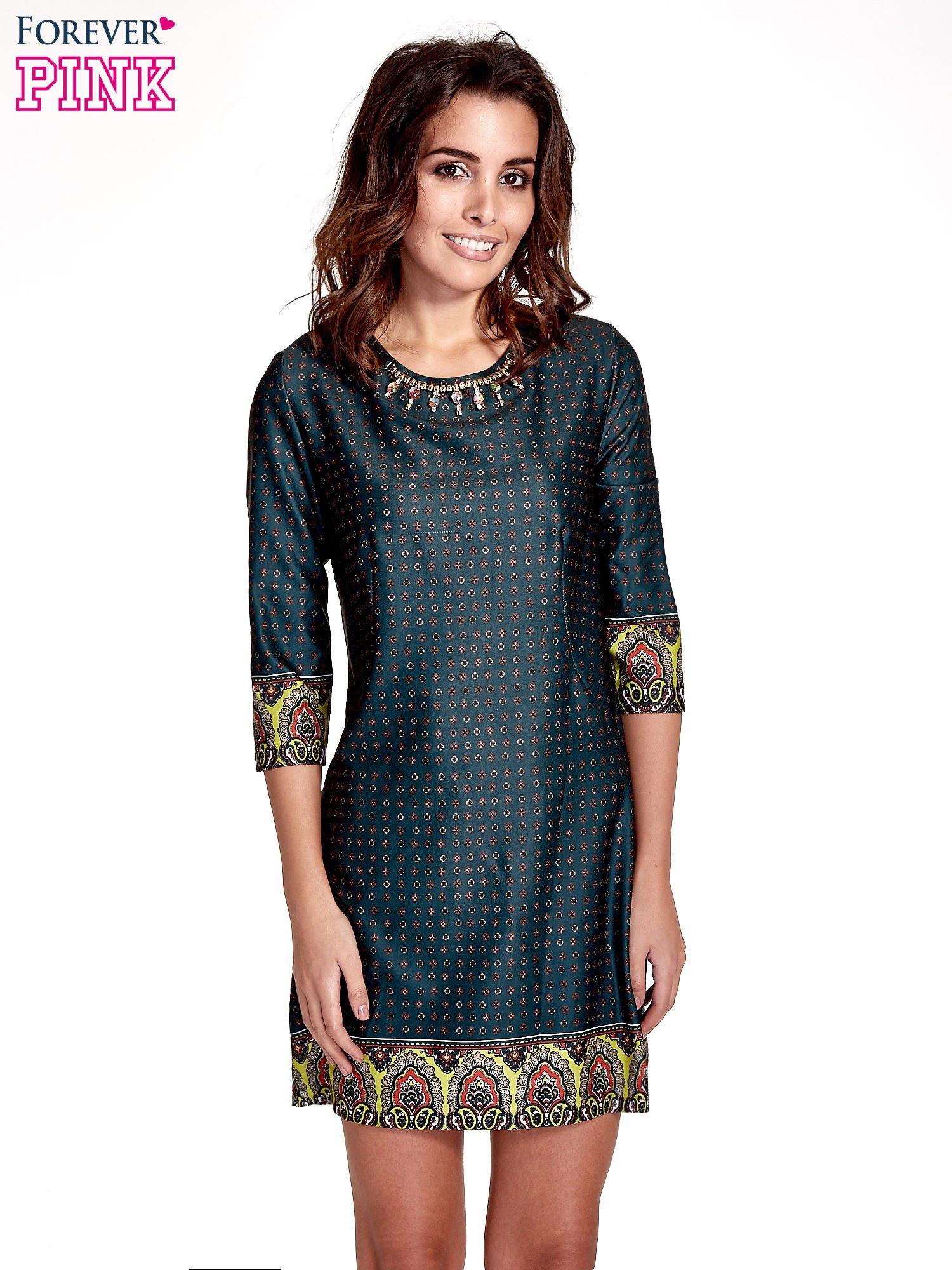 a973017c1f Zielona sukienka w indyjskim stylu - Sukienka na co dzień - sklep eButik.pl