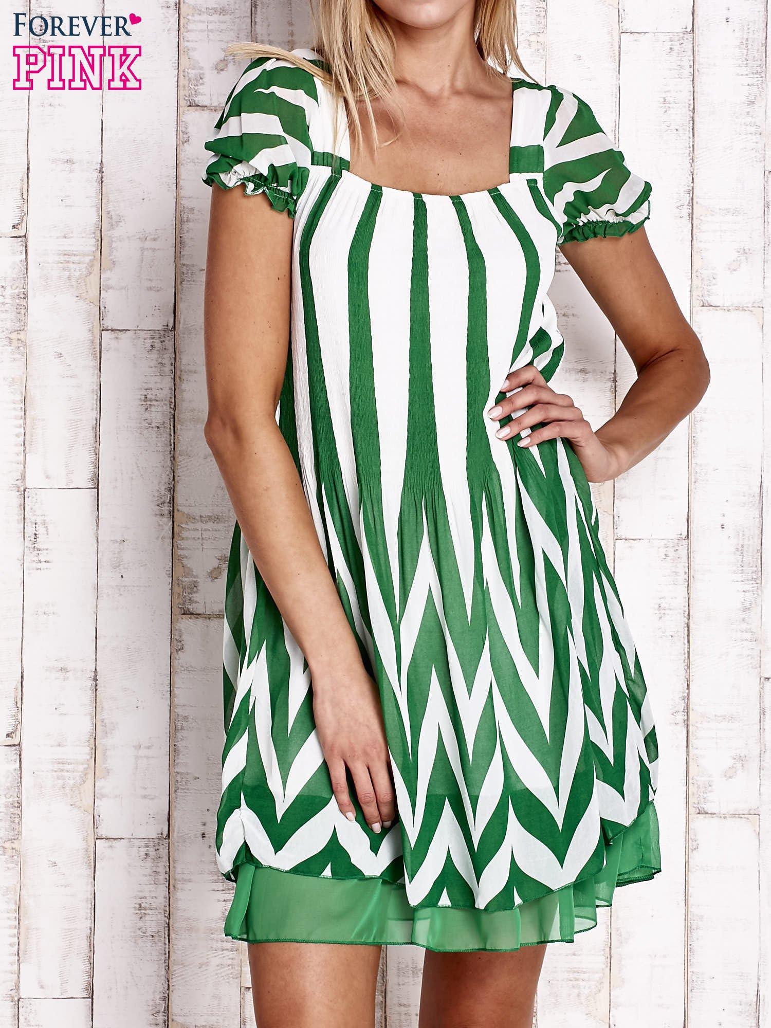 Zielona sukienka w paski z bufiastymi rękawkami                                  zdj.                                  1