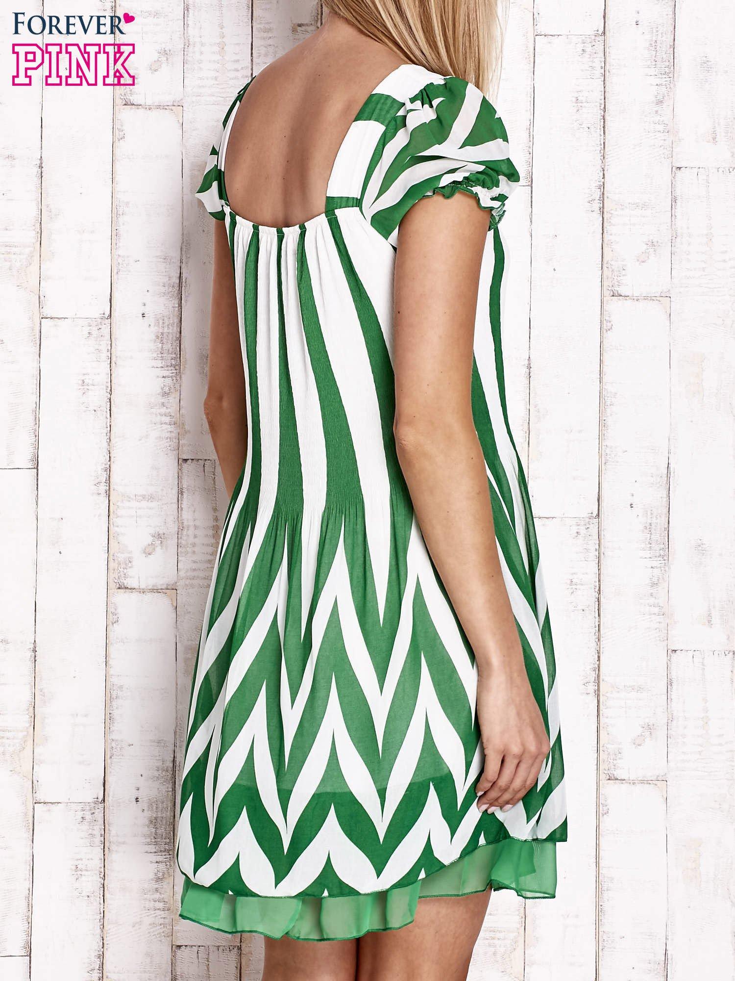 Zielona sukienka w paski z bufiastymi rękawkami                                  zdj.                                  2
