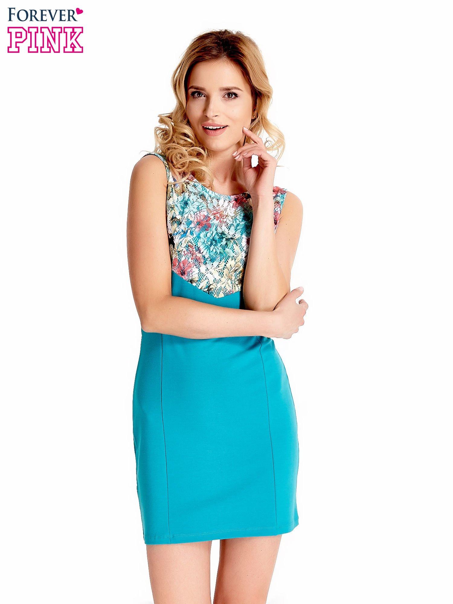 Zielona sukienka z kwiatową koronką                                  zdj.                                  1