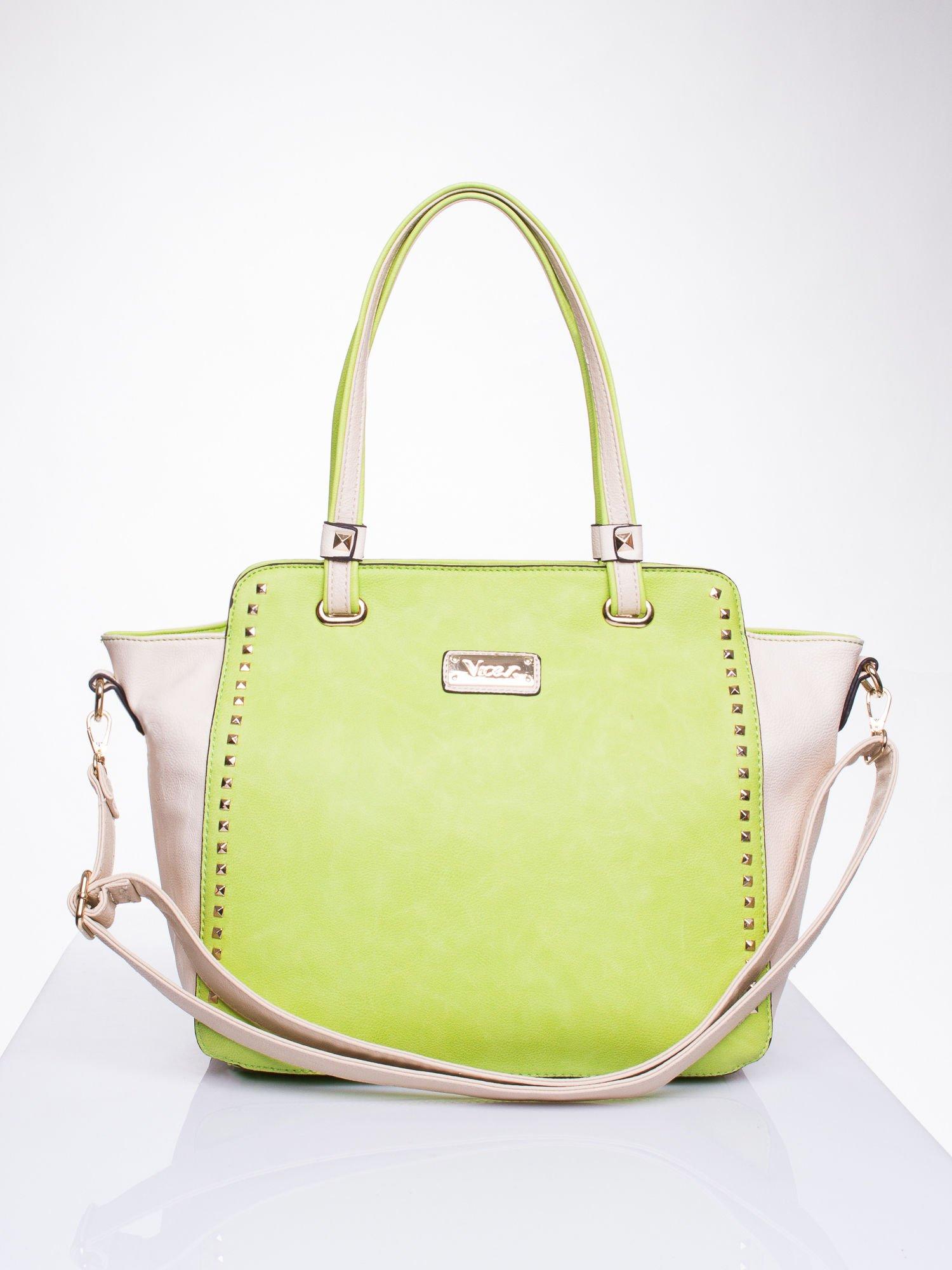 Zielona torba shopper bag z ozdobnymi ćwiekami                                  zdj.                                  1