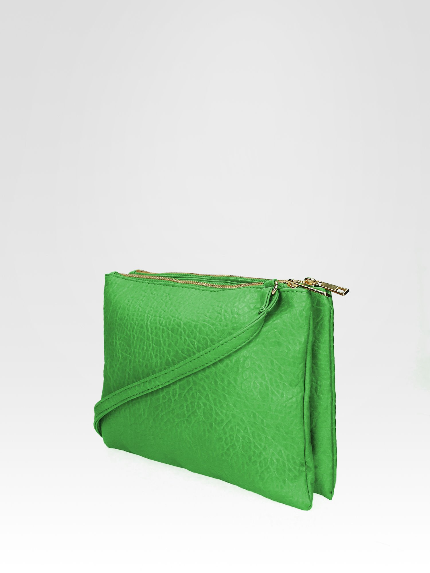 Zielona torebka dwukomorowa z paskiem                                  zdj.                                  3