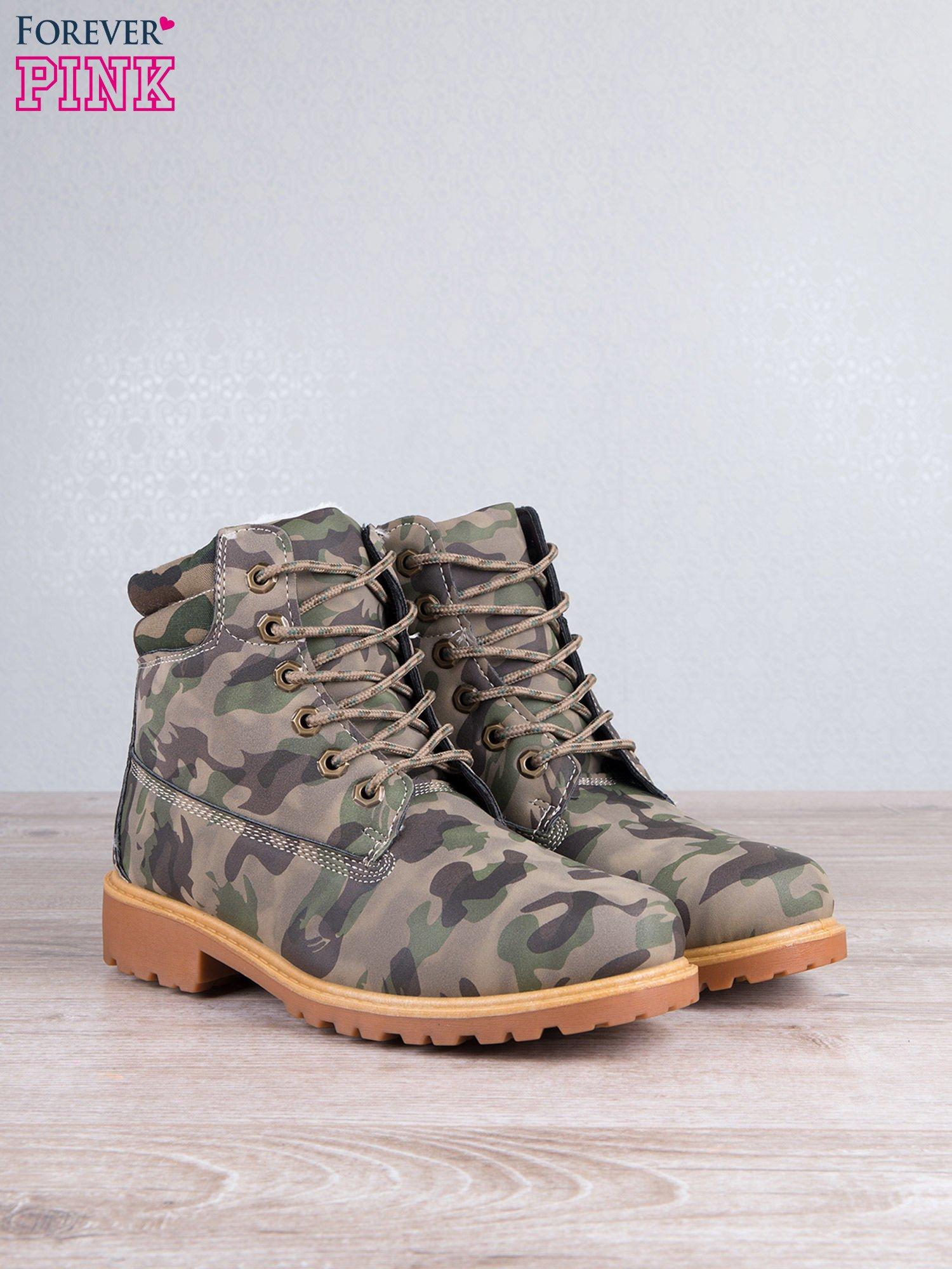 Zielone buty trekkingowe damskie traperki ocieplane                                  zdj.                                  2