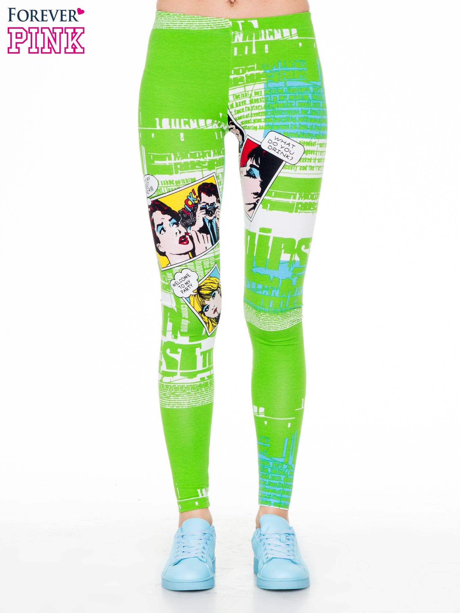 Zielone legginsy z nadrukiem komiksowym                                  zdj.                                  1