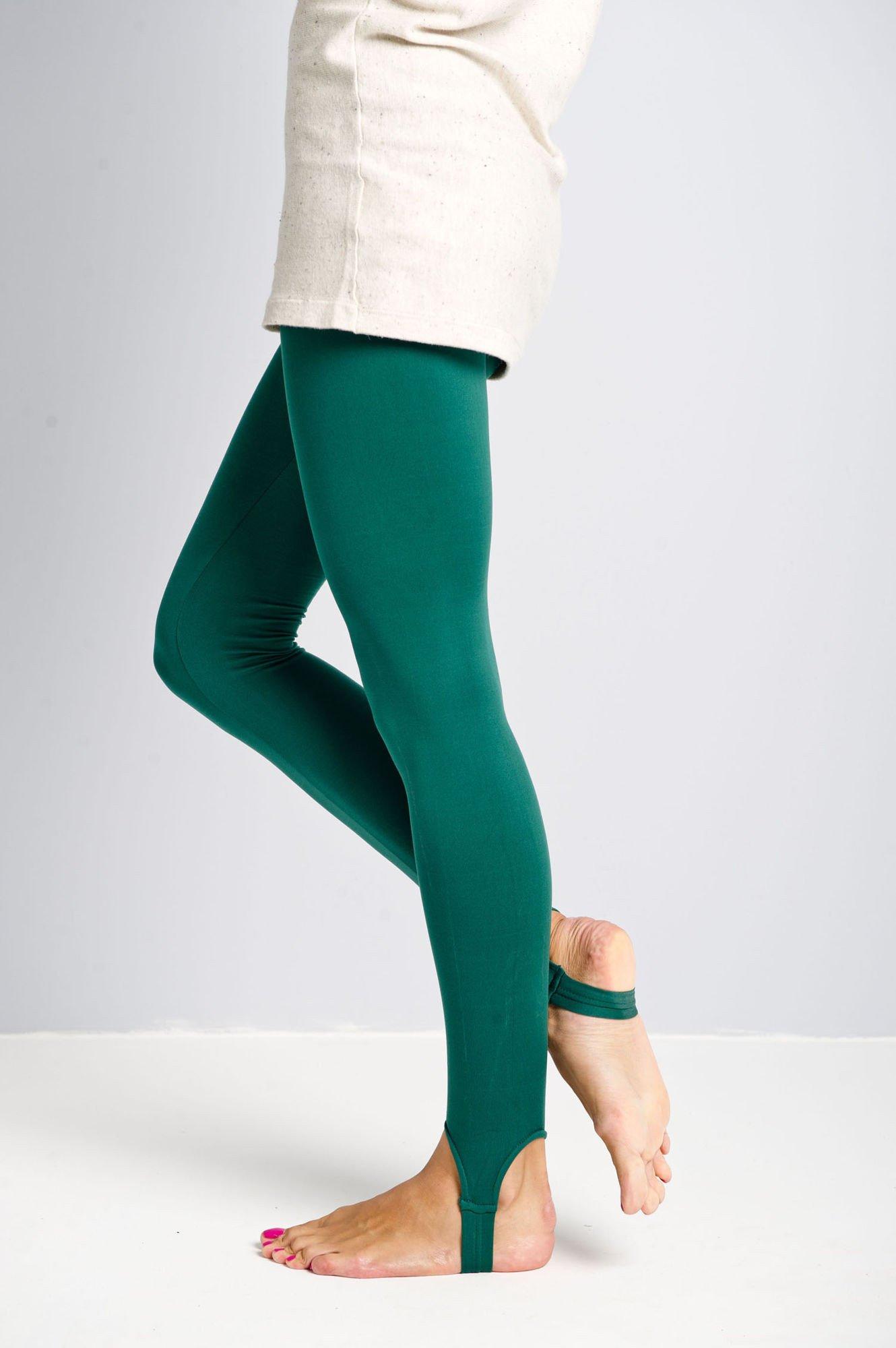 Zielone legginsy zakładane na stopę                                  zdj.                                  3