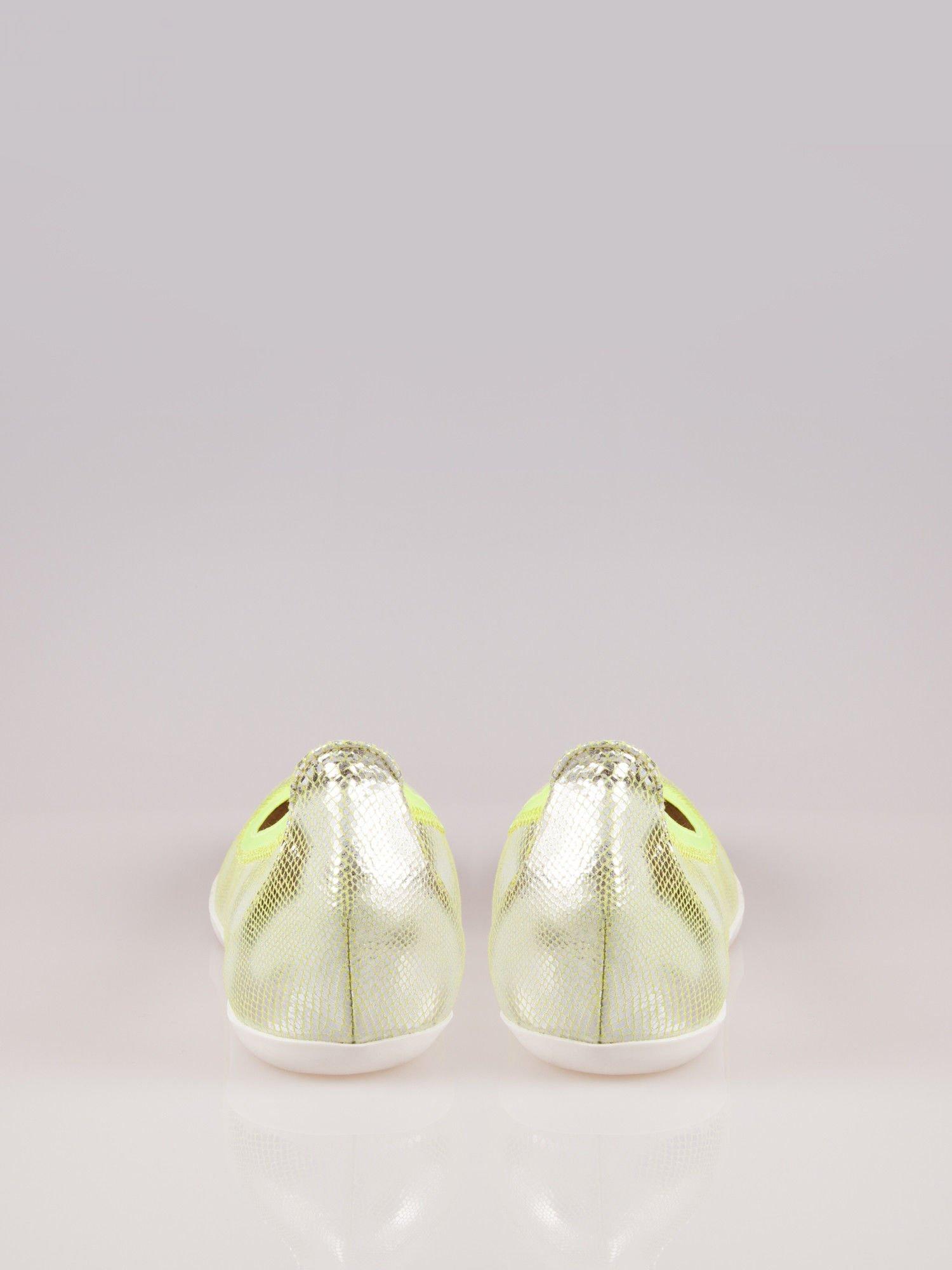 Zielone metaliczne baleriny Gleamy z efektem skóry jaszczurki                                  zdj.                                  1