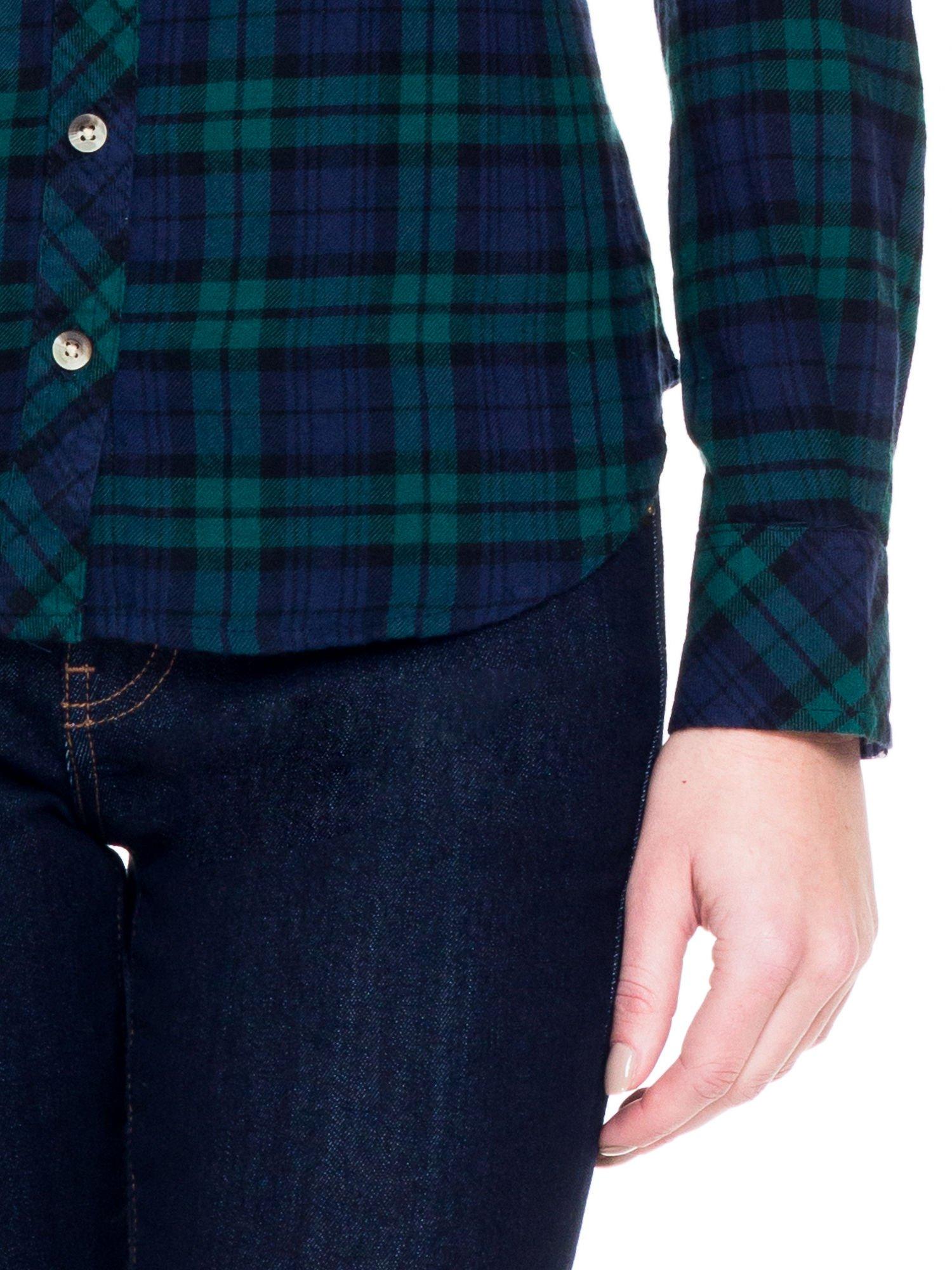 Zielono-granatowa koszula w kratę z kieszonkami                                  zdj.                                  7